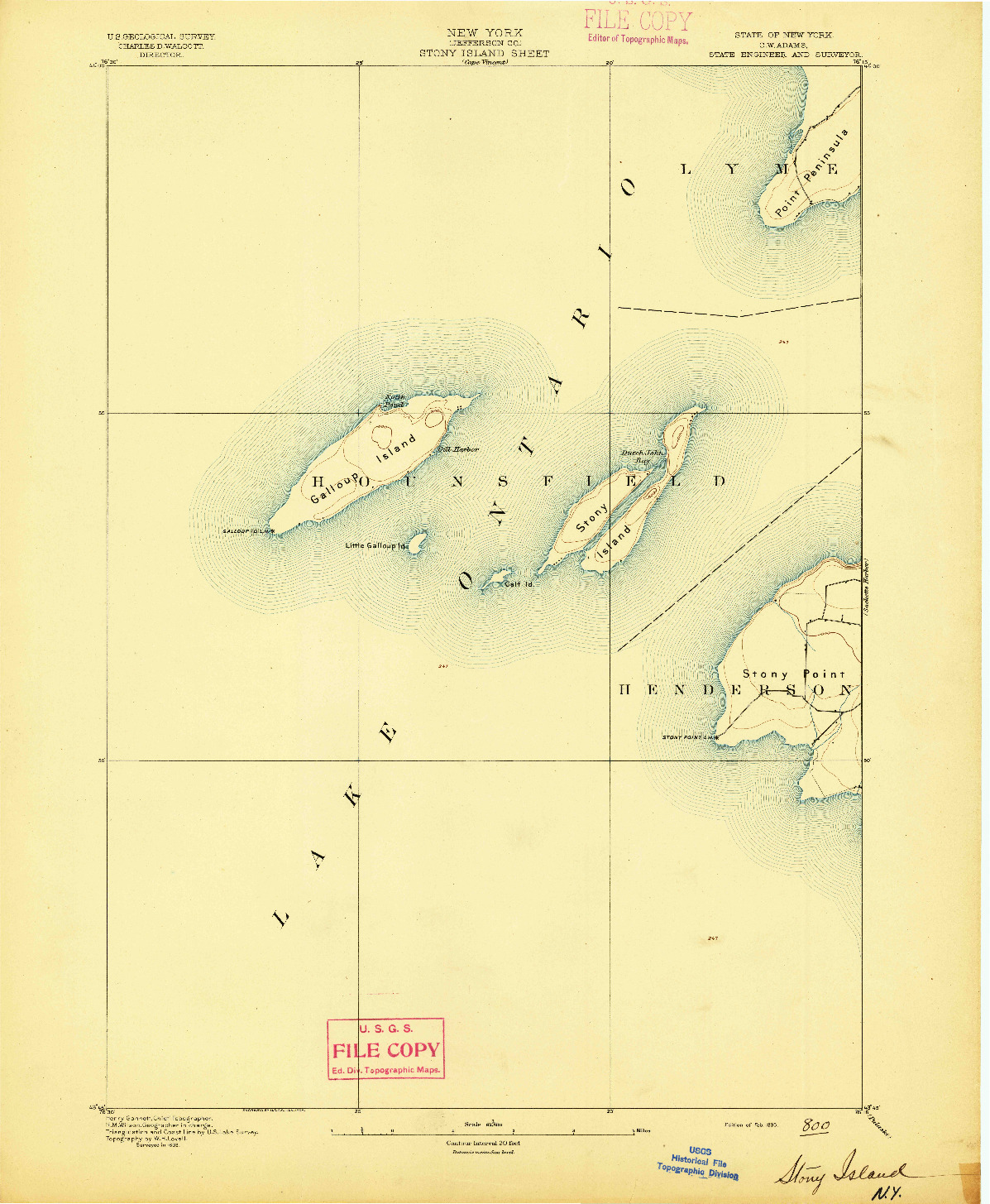 USGS 1:62500-SCALE QUADRANGLE FOR STONY ISLAND, NY 1895