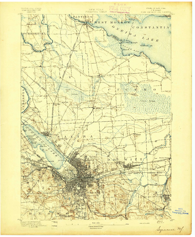 USGS 1:62500-SCALE QUADRANGLE FOR SYRACUSE, NY 1895