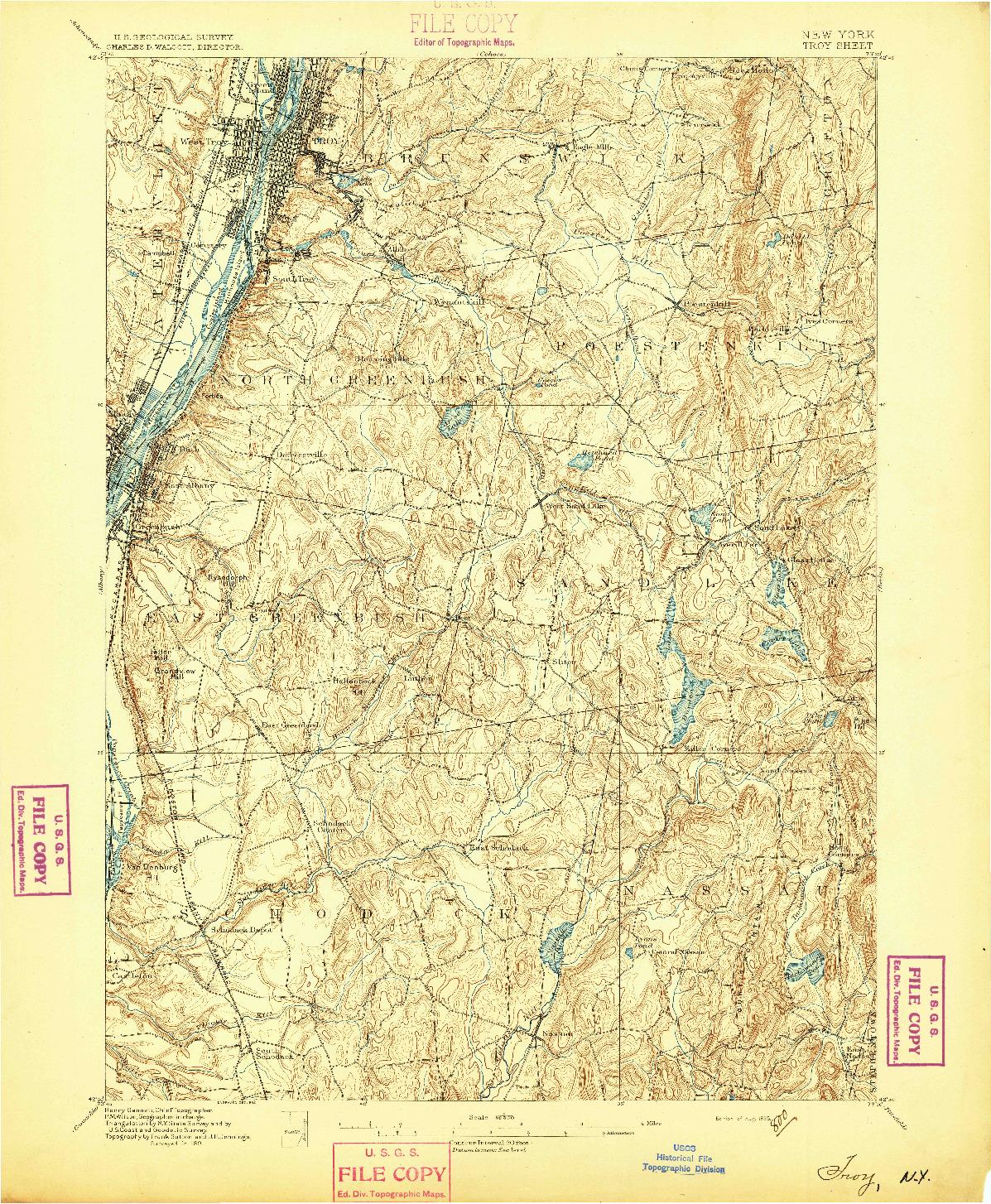 USGS 1:62500-SCALE QUADRANGLE FOR TROY, NY 1895