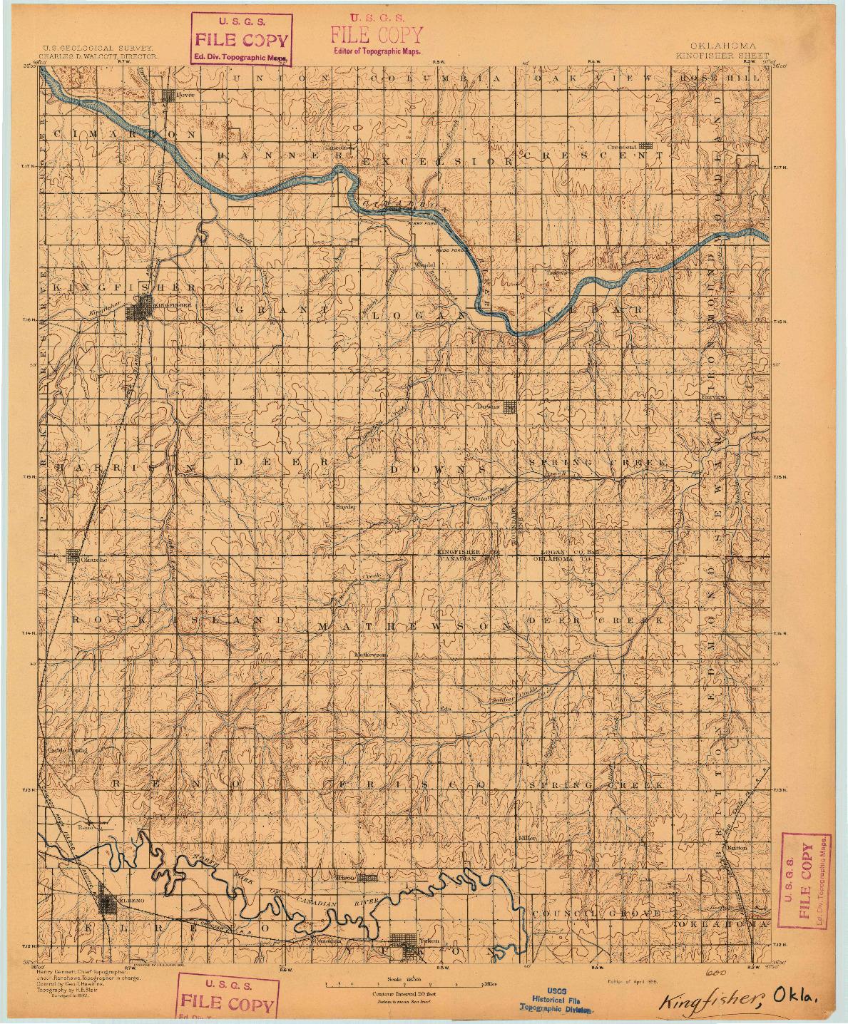 USGS 1:125000-SCALE QUADRANGLE FOR KINGFISHER, OK 1895
