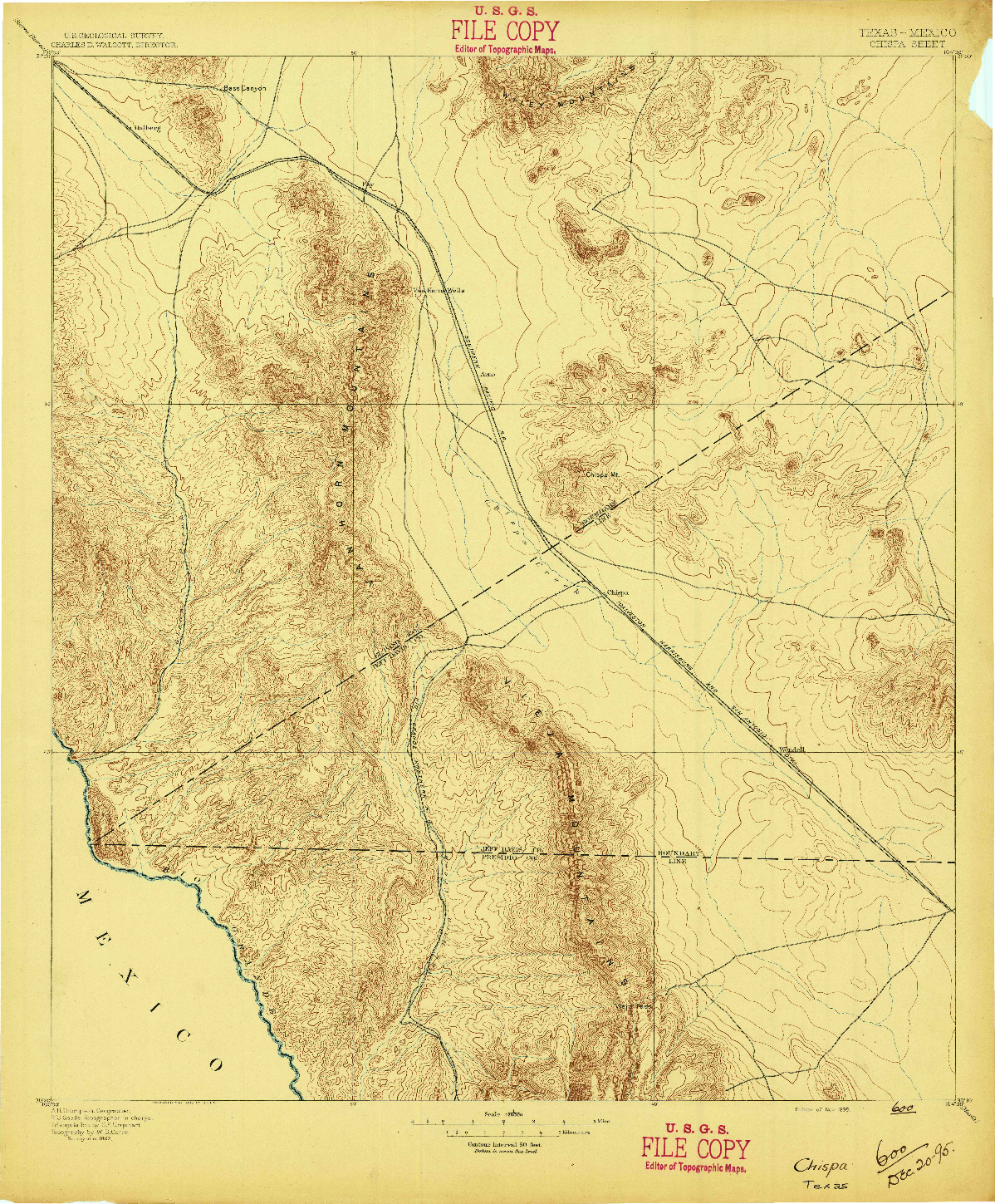 USGS 1:125000-SCALE QUADRANGLE FOR CHISPA, TX 1895