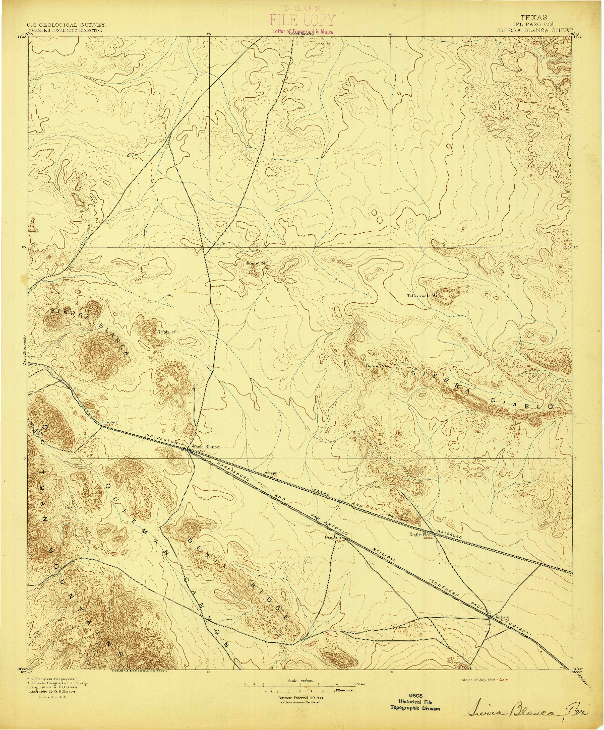 USGS 1:125000-SCALE QUADRANGLE FOR SIERRA BLANCA, TX 1895