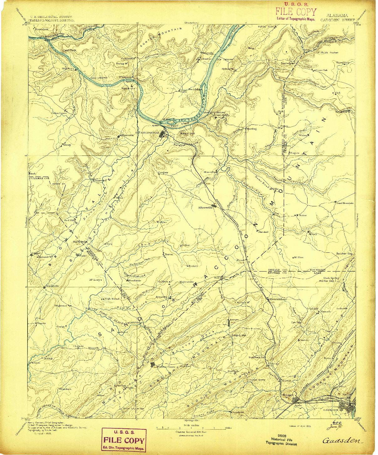 USGS 1:125000-SCALE QUADRANGLE FOR GADSDEN, AL 1895