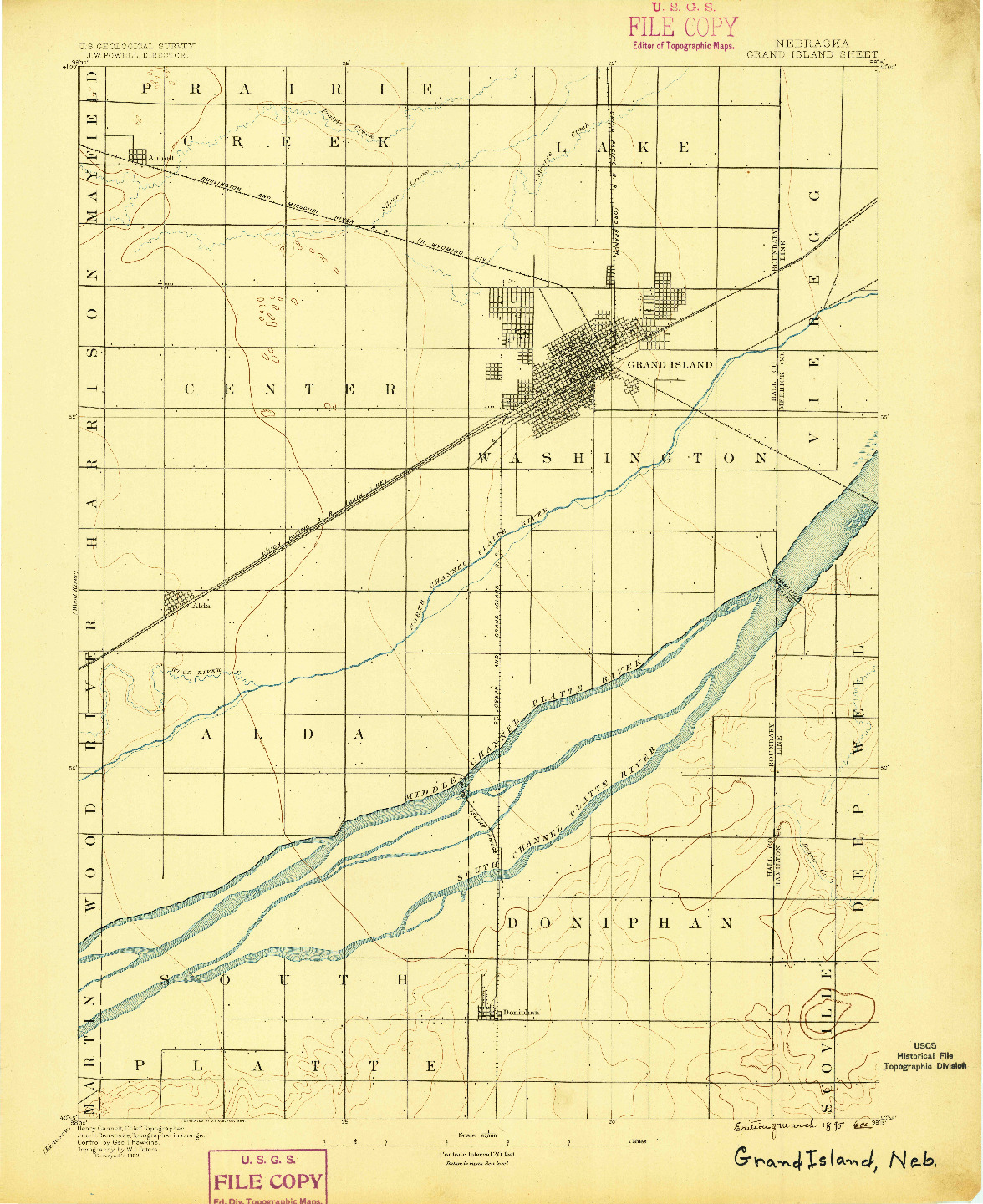 USGS 1:62500-SCALE QUADRANGLE FOR GRAND ISLAND, NE 1895