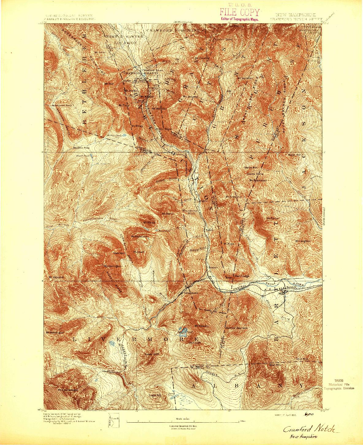 USGS 1:62500-SCALE QUADRANGLE FOR CRAWFORD NOTCH, NH 1895