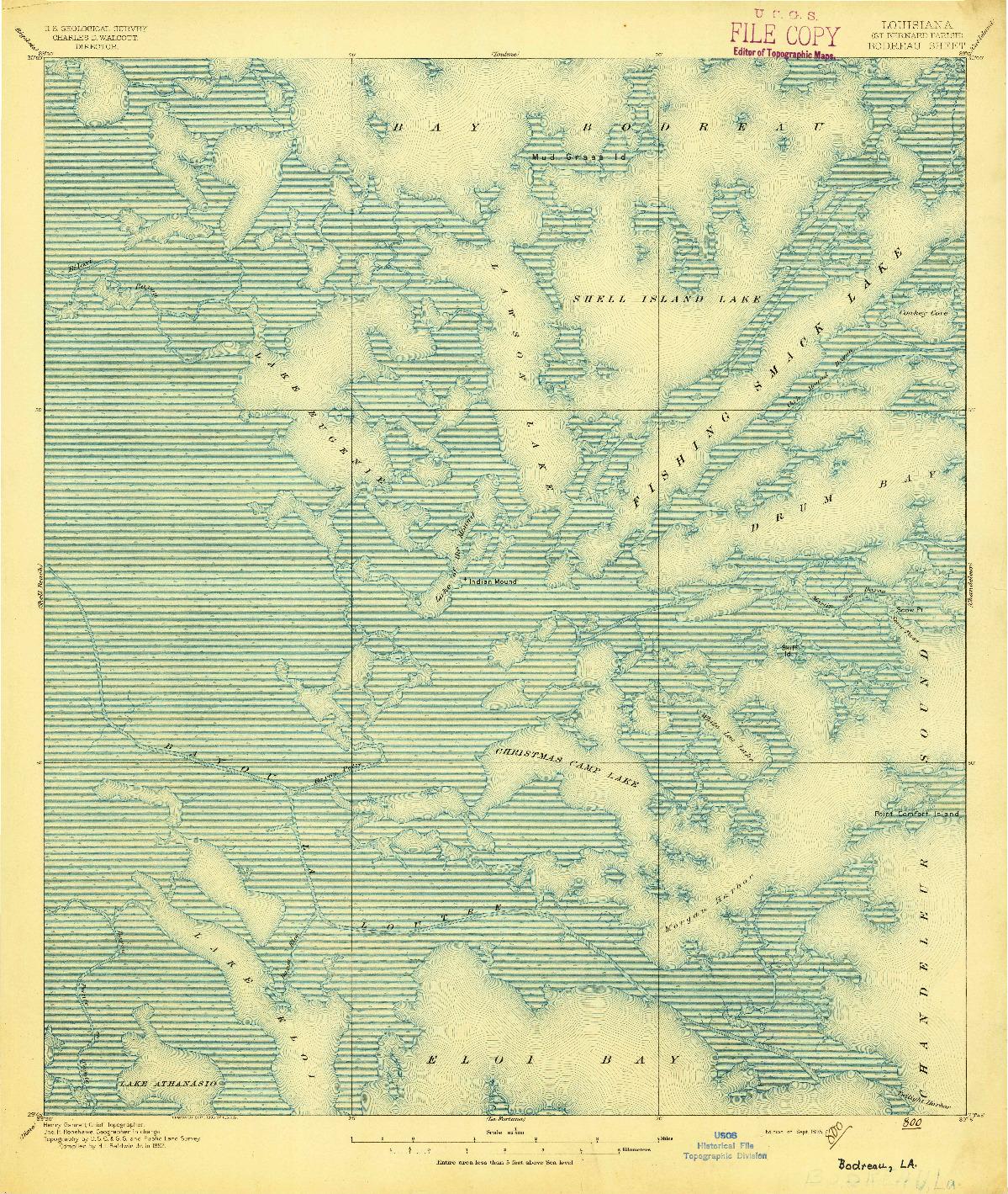 USGS 1:62500-SCALE QUADRANGLE FOR BODREAU, LA 1895