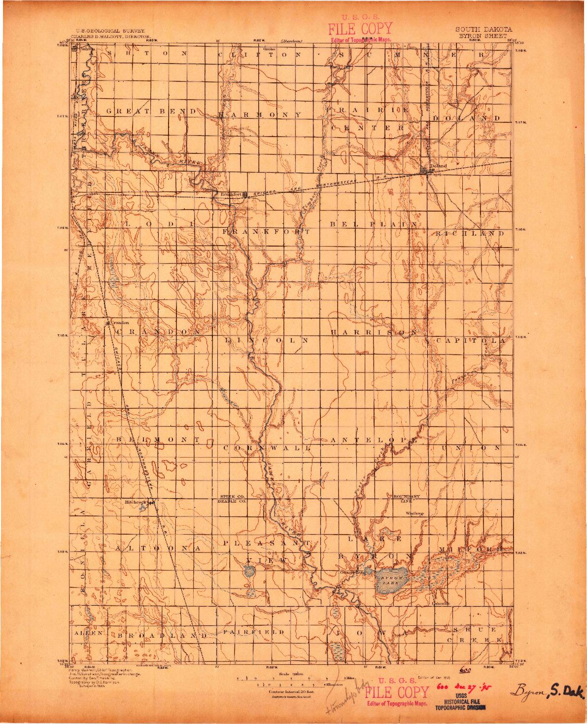 USGS 1:125000-SCALE QUADRANGLE FOR BYRON, SD 1895