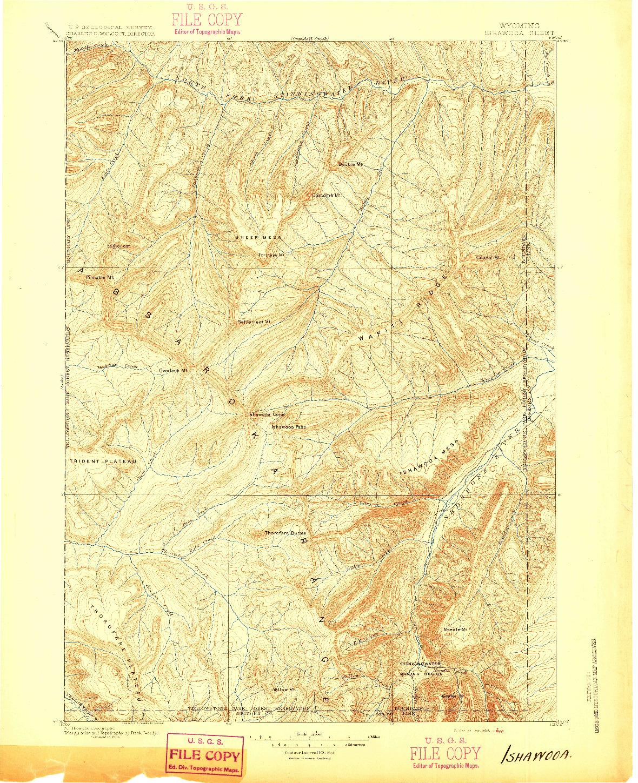 USGS 1:125000-SCALE QUADRANGLE FOR ISHAWOOA, WY 1895