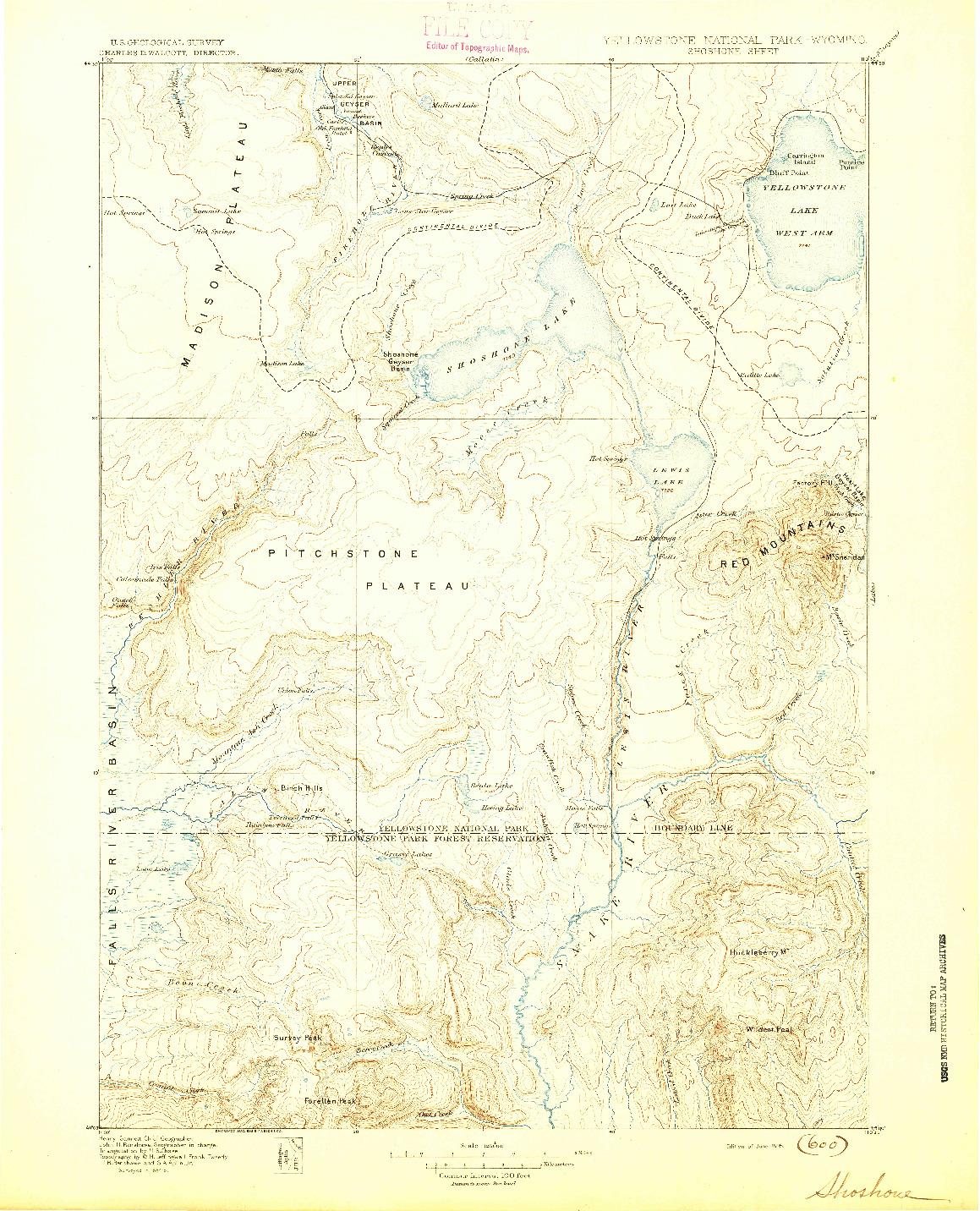 USGS 1:125000-SCALE QUADRANGLE FOR SHOSHONE, WY 1895