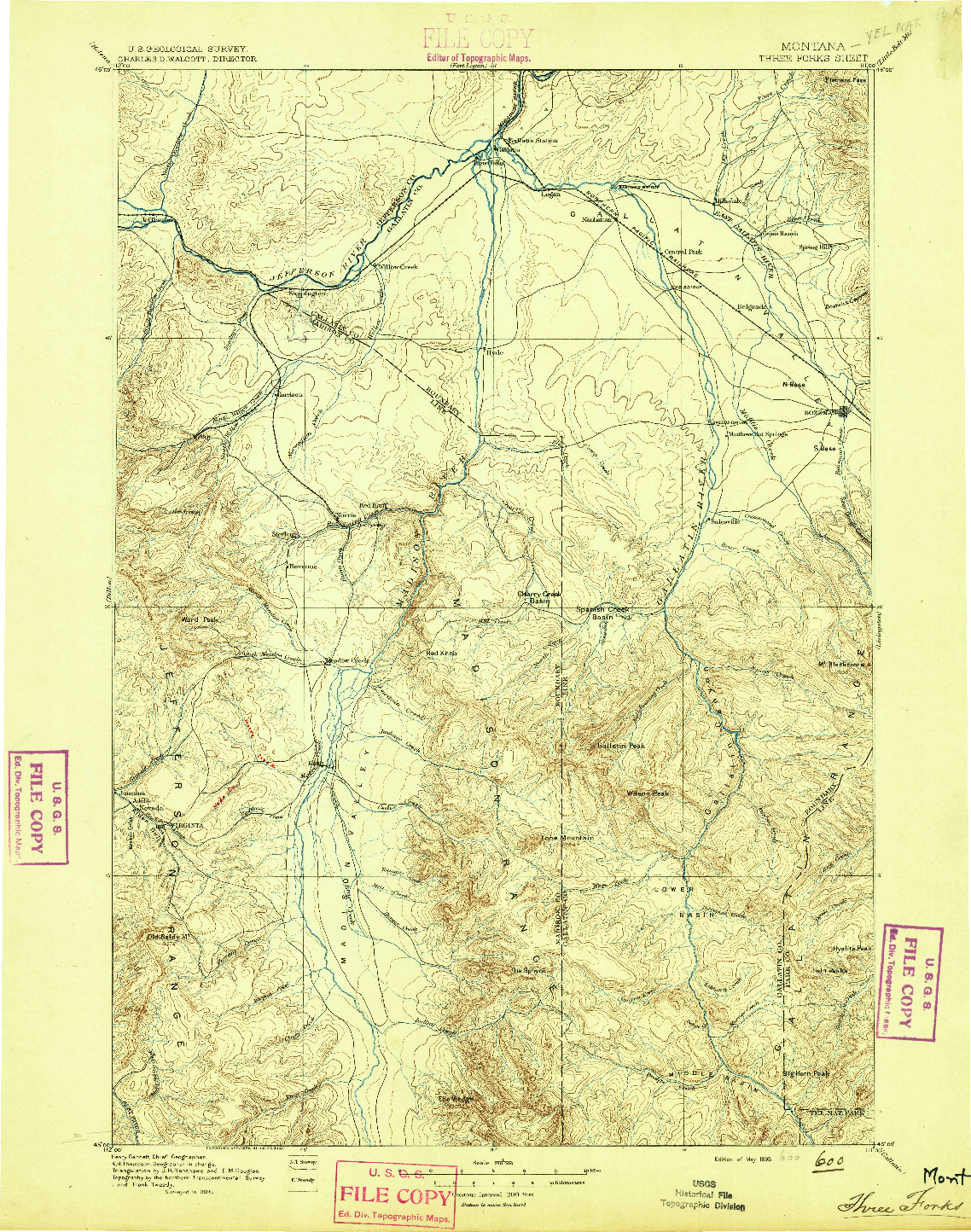 USGS 1:250000-SCALE QUADRANGLE FOR THREE FORKS, MT 1895