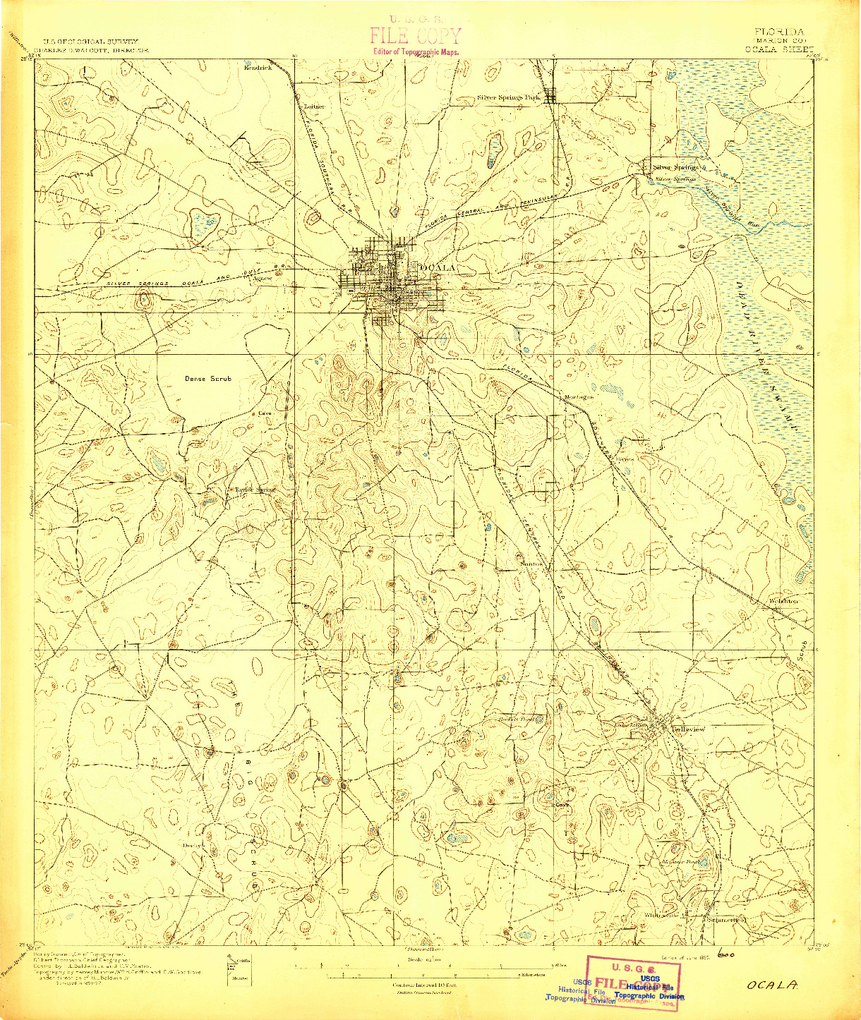 USGS 1:62500-SCALE QUADRANGLE FOR OCALA, FL 1895