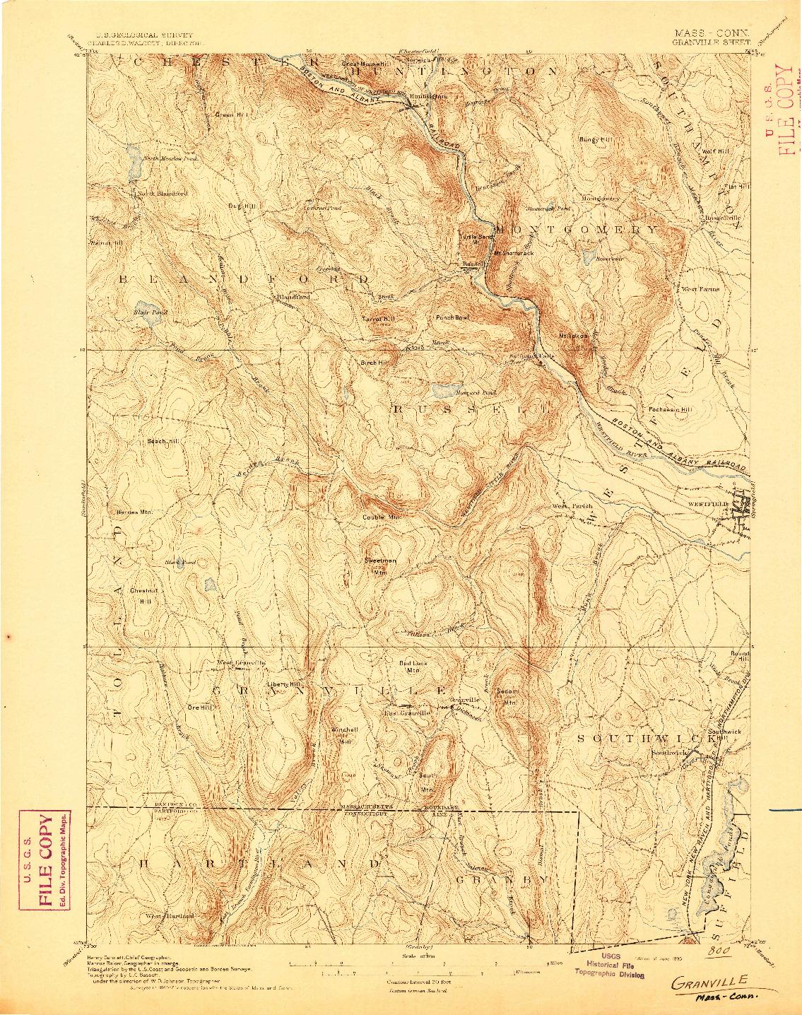 USGS 1:62500-SCALE QUADRANGLE FOR GRANVILLE, MA 1895