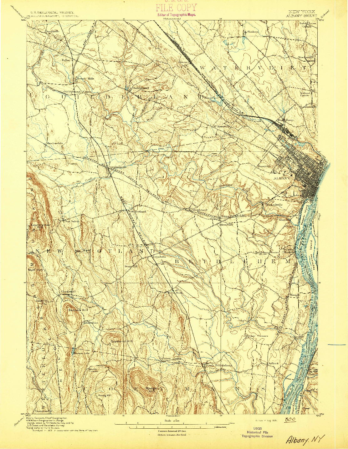 USGS 1:62500-SCALE QUADRANGLE FOR ALBANY, NY 1895