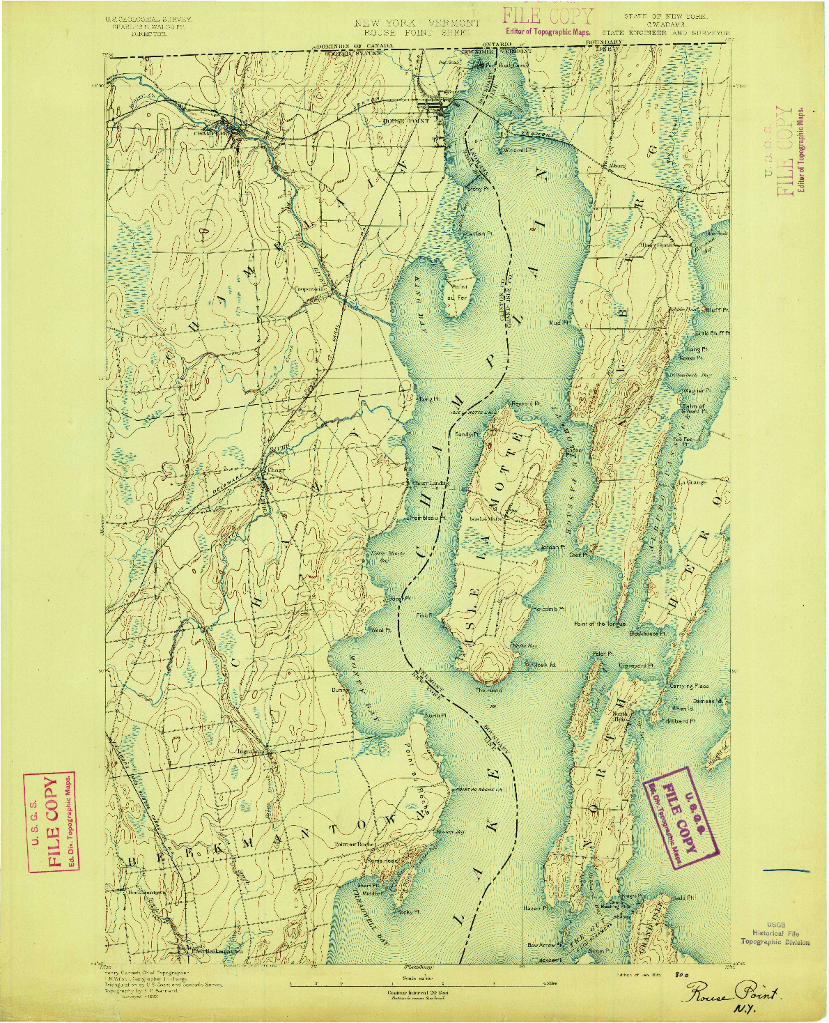 USGS 1:62500-SCALE QUADRANGLE FOR ROUSE POINT, NY 1895