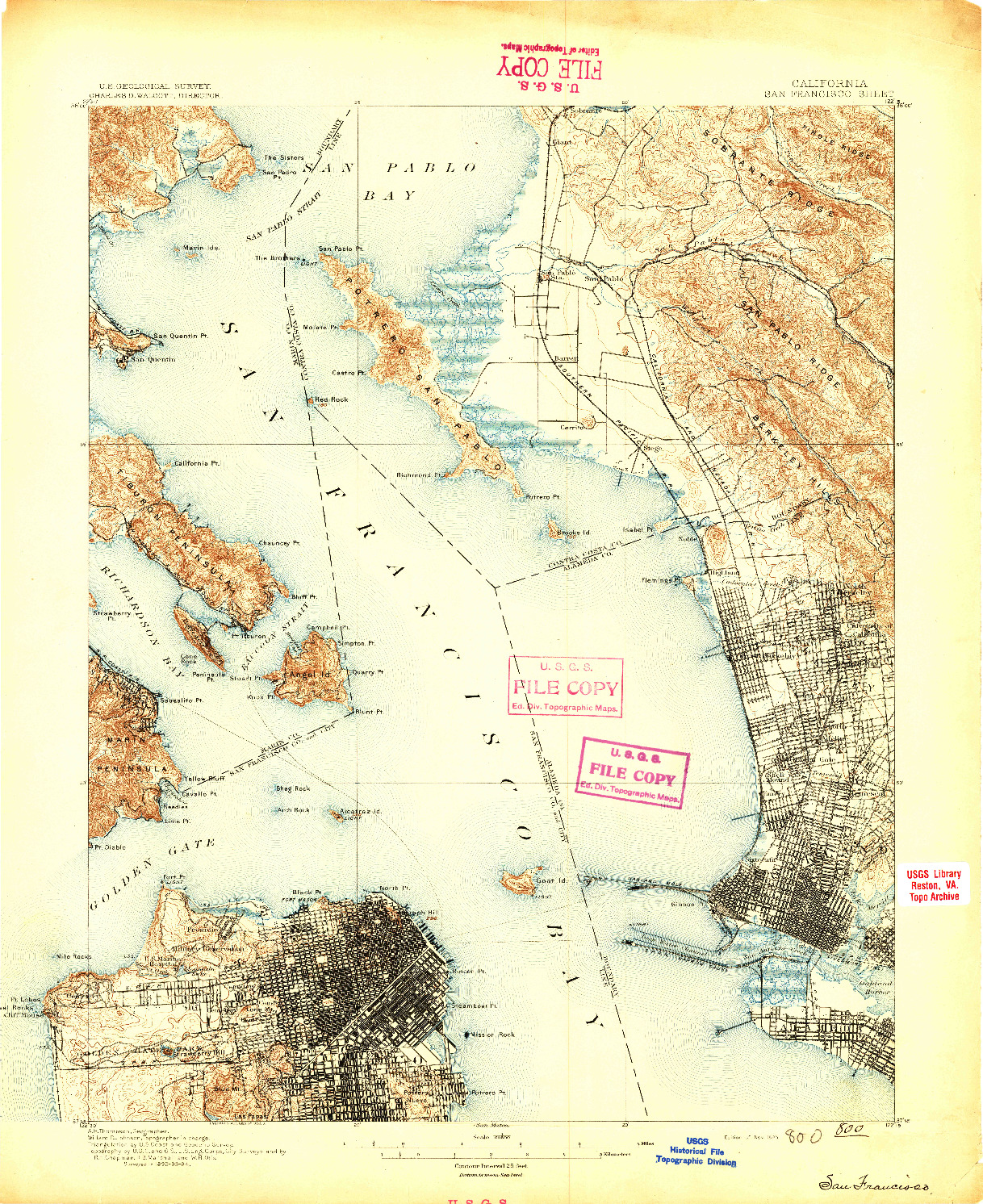 USGS 1:62500-SCALE QUADRANGLE FOR SAN FRANCISCO, CA 1895