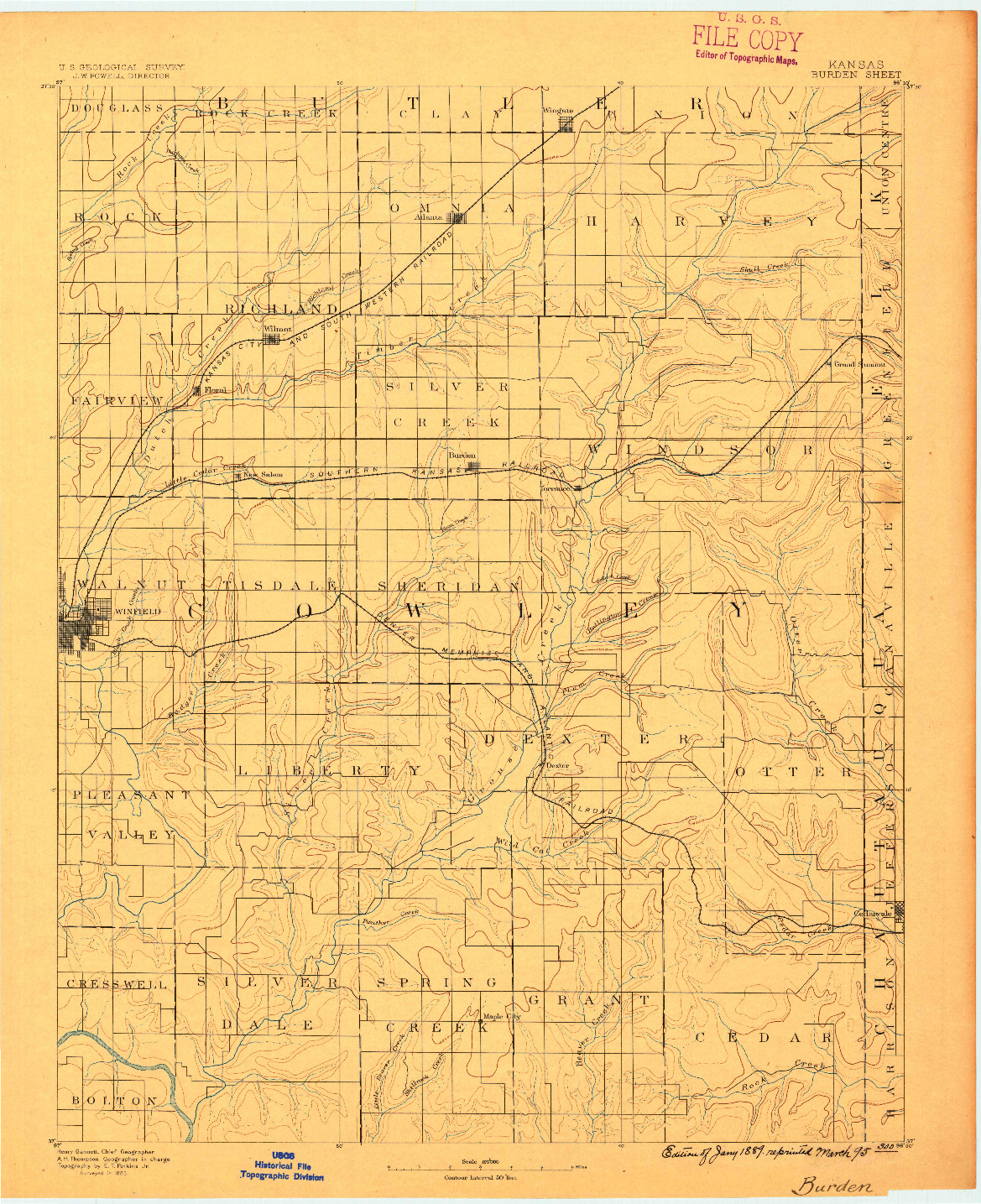 USGS 1:125000-SCALE QUADRANGLE FOR BURDEN, KS 1889