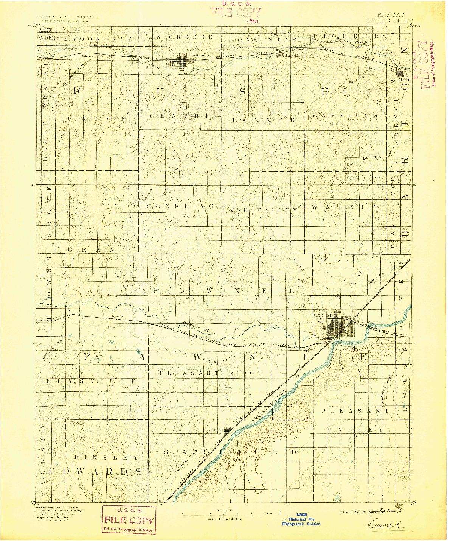USGS 1:125000-SCALE QUADRANGLE FOR LARNED, KS 1891