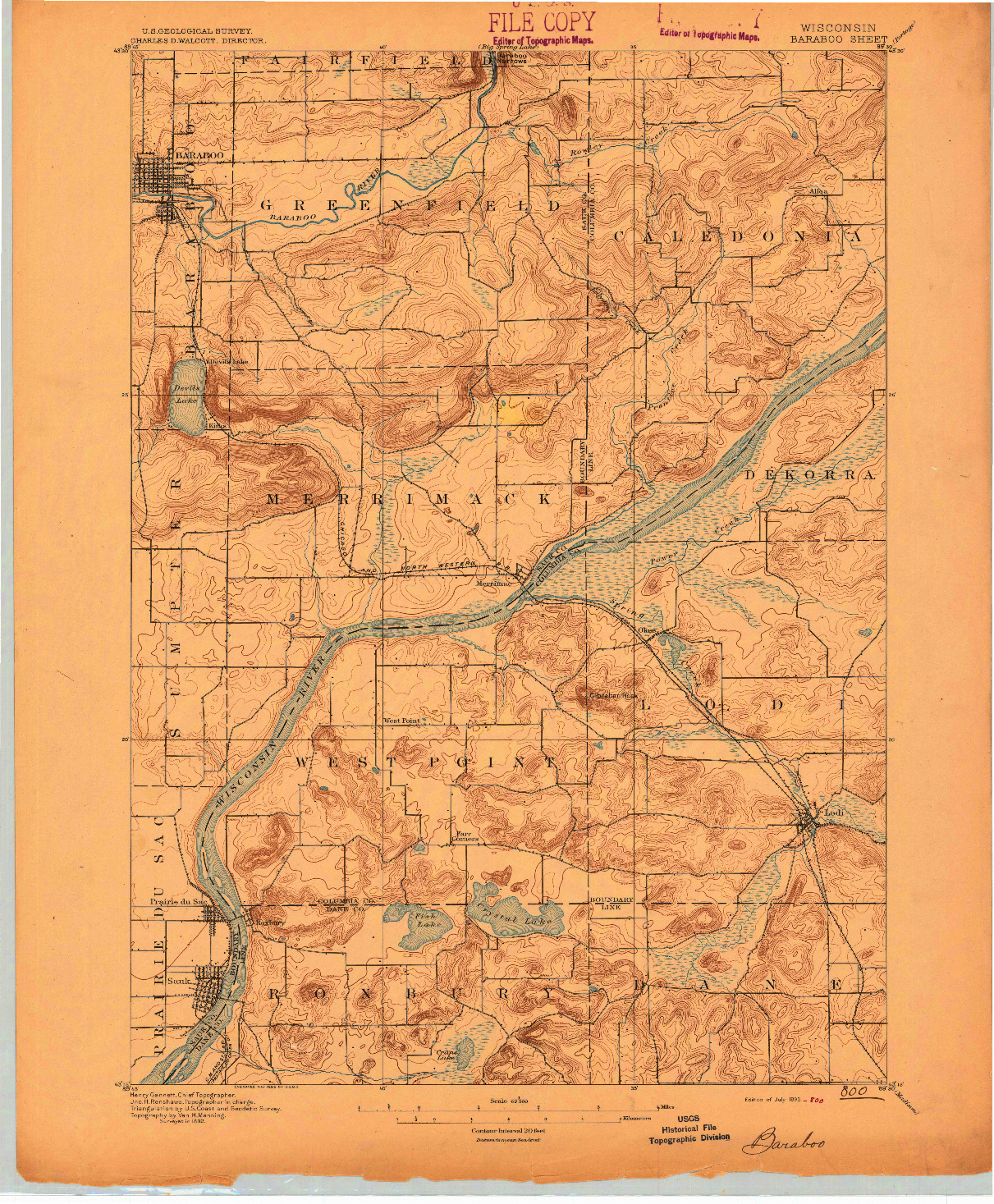 USGS 1:62500-SCALE QUADRANGLE FOR BARABOO, WI 1895