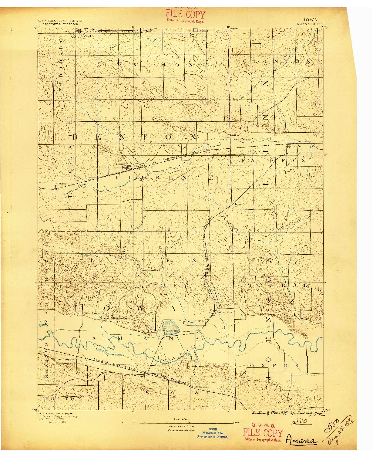 USGS 1:62500-SCALE QUADRANGLE FOR AMANA, IA 1889