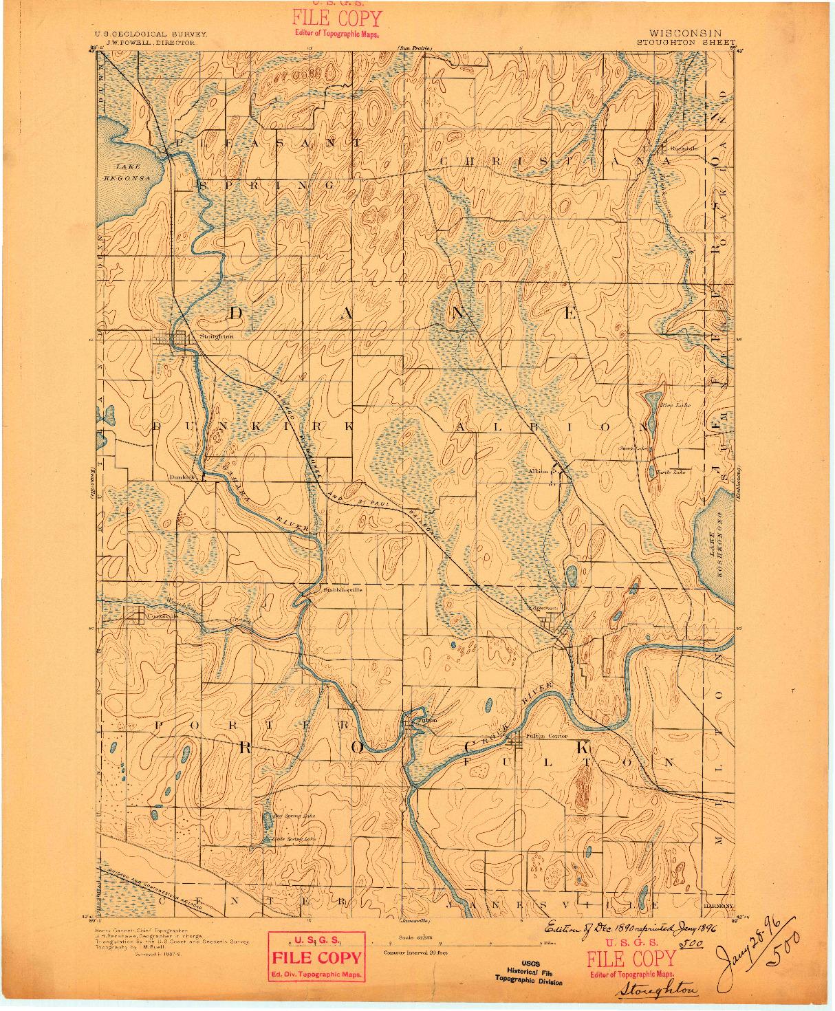 USGS 1:62500-SCALE QUADRANGLE FOR STOUGHTON, WI 1890