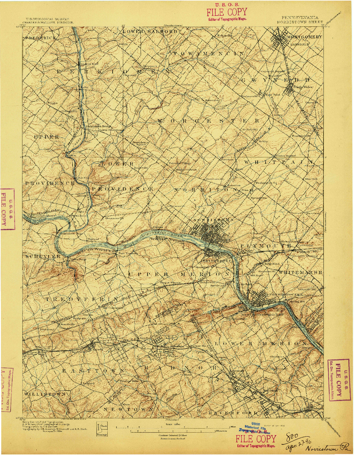 USGS 1:62500-SCALE QUADRANGLE FOR NORRISTOWN, PA 1896