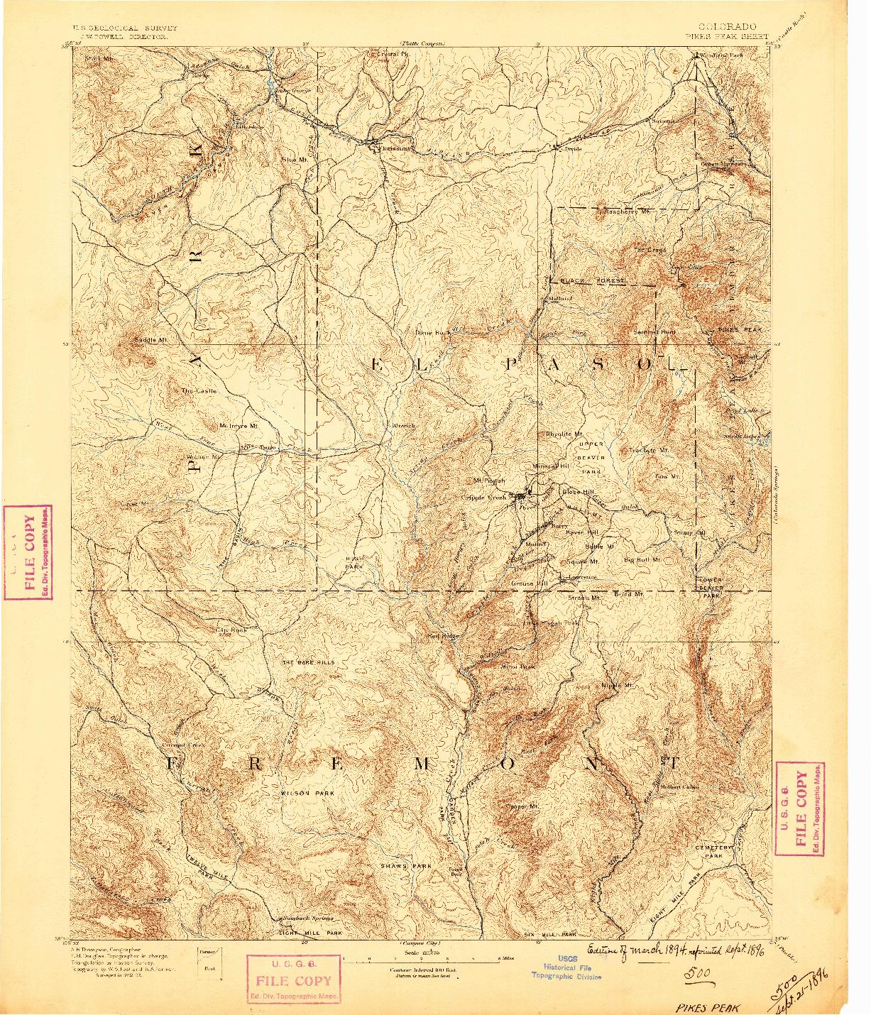 USGS 1:125000-SCALE QUADRANGLE FOR PIKES PEAK, CO 1894