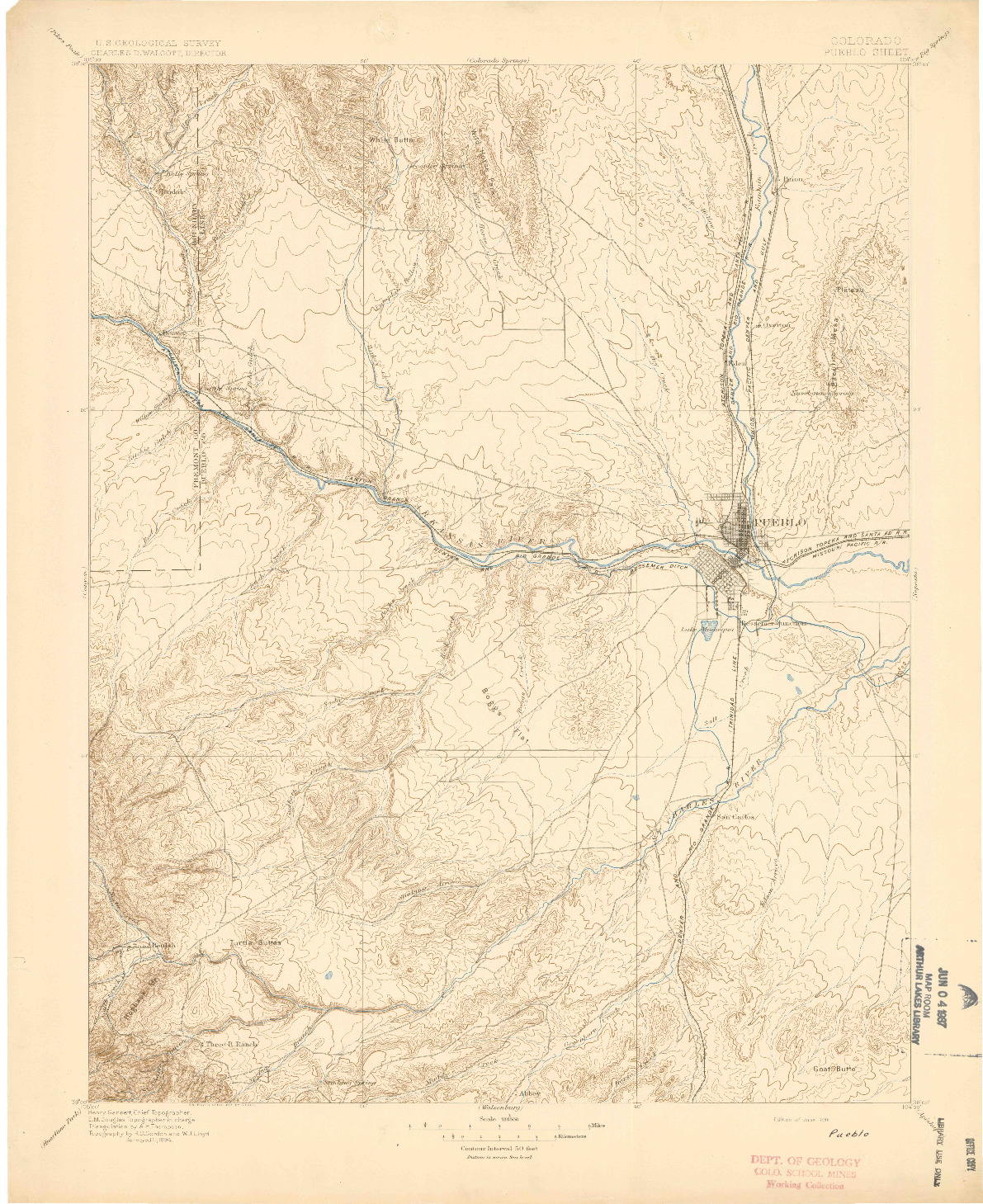 USGS 1:125000-SCALE QUADRANGLE FOR PUEBLO, CO 1896