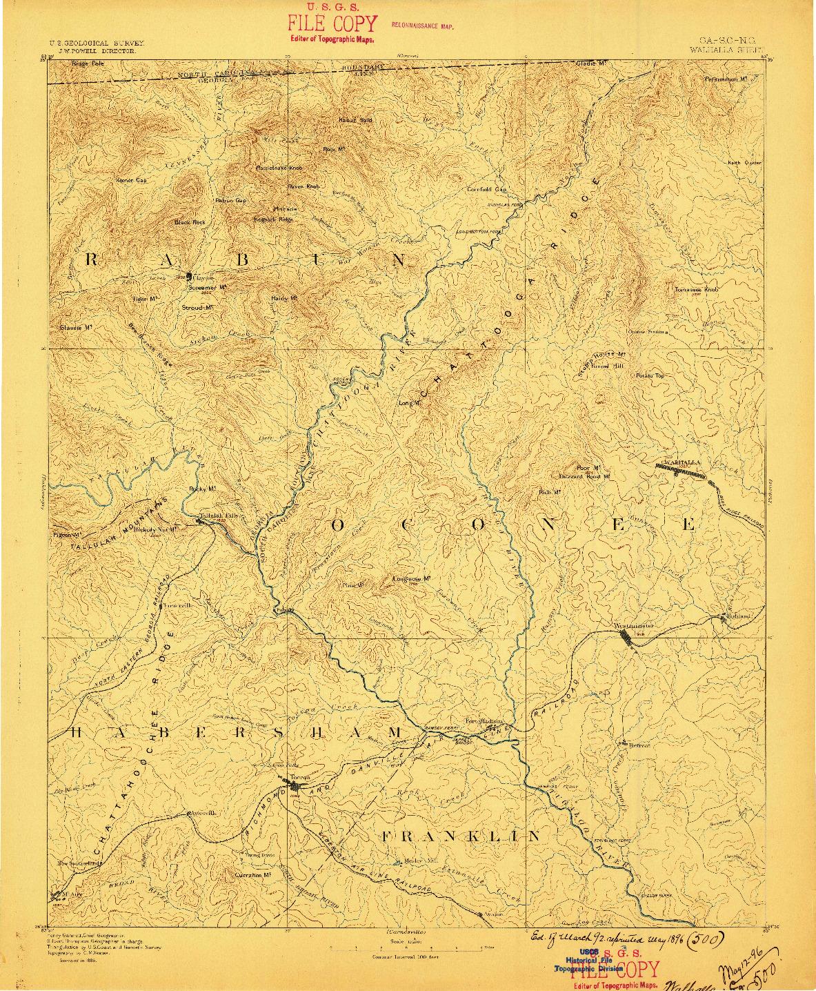 USGS 1:125000-SCALE QUADRANGLE FOR WALHALLA, GA 1896
