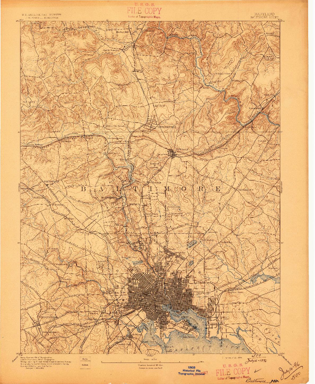USGS 1:62500-SCALE QUADRANGLE FOR BALTIMORE, MD 1894