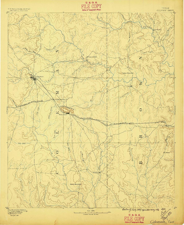 USGS 1:125000-SCALE QUADRANGLE FOR COLEMAN, TX 1887