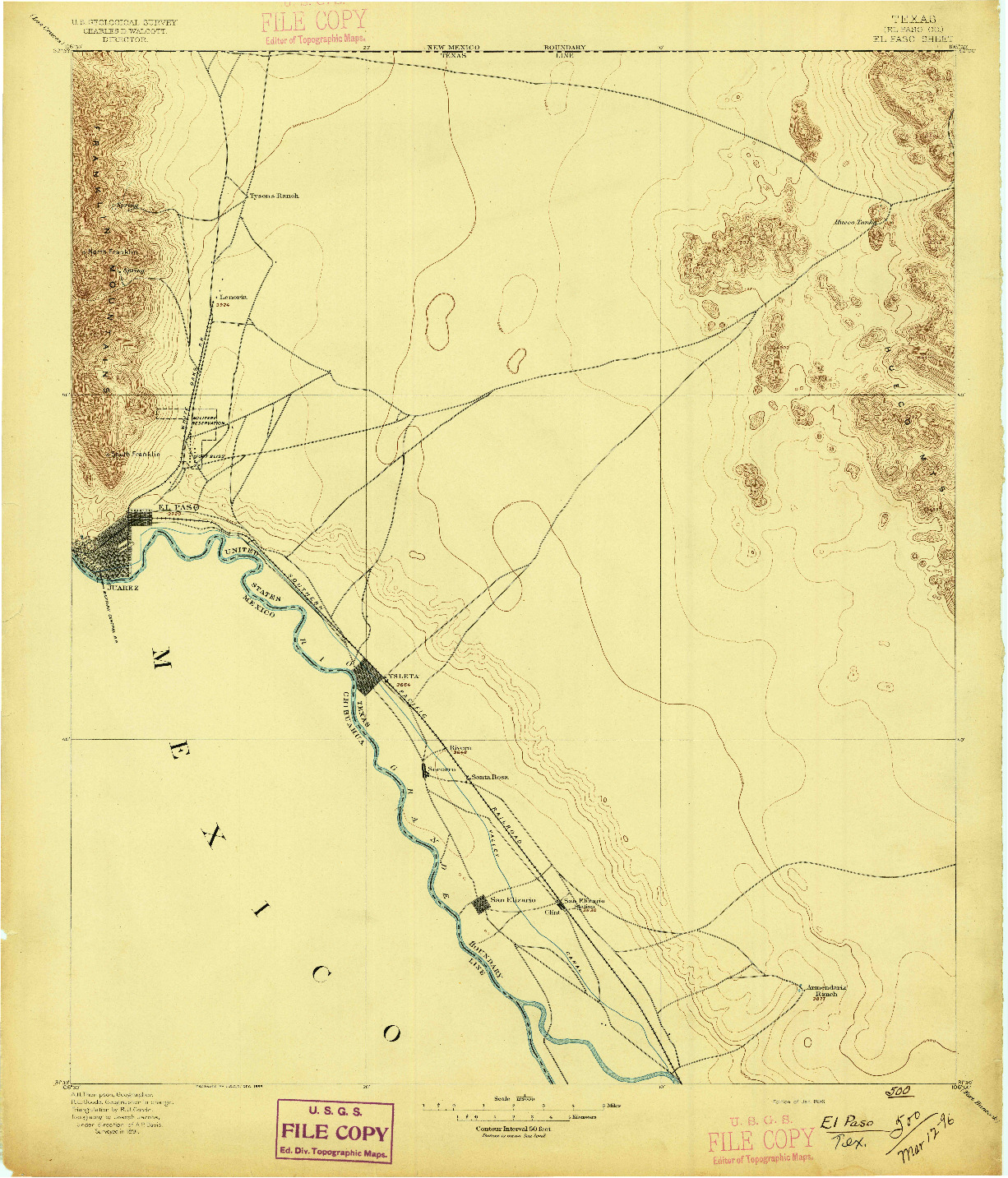 USGS 1:125000-SCALE QUADRANGLE FOR EL PASO, TX 1896