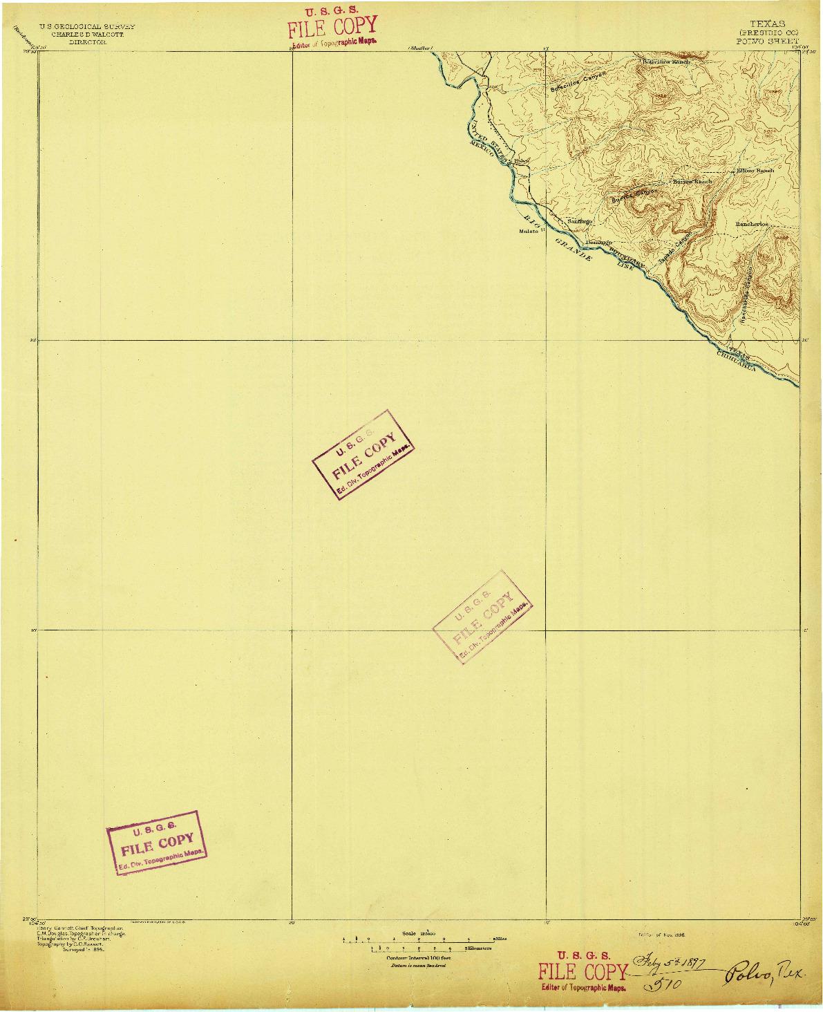 USGS 1:125000-SCALE QUADRANGLE FOR POLVO, TX 1896