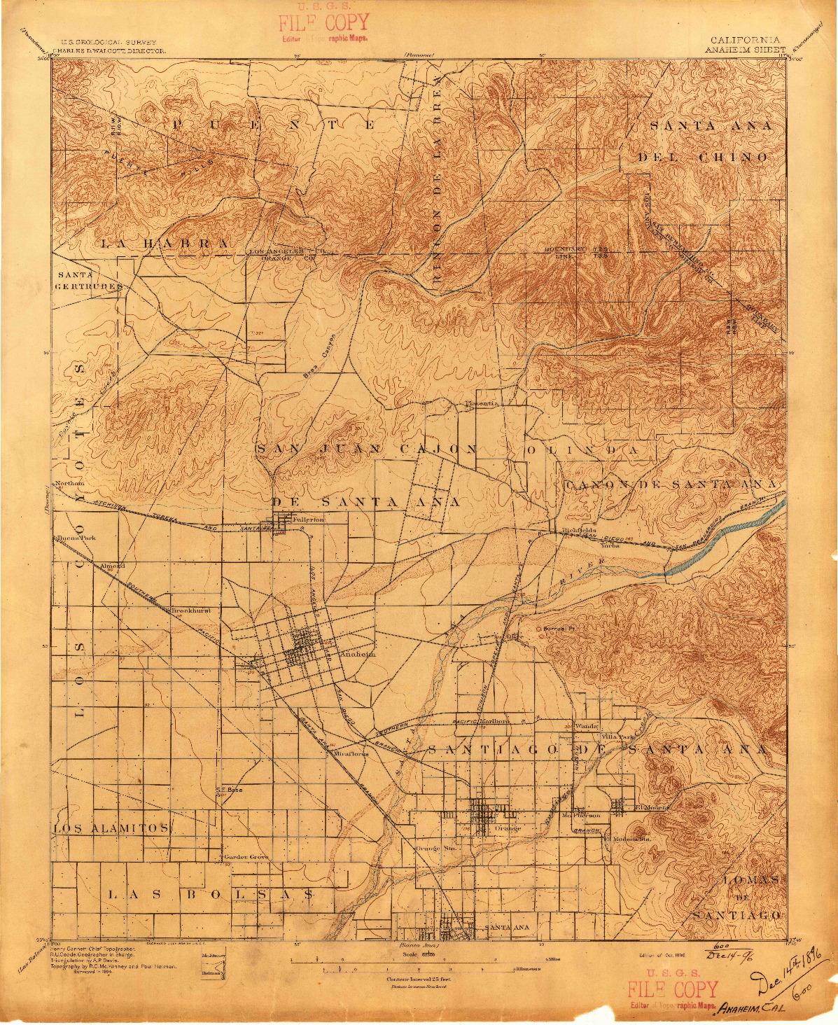 USGS 1:62500-SCALE QUADRANGLE FOR ANAHEIM, CA 1896