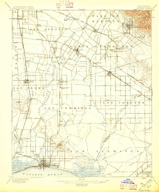 USGS 1:62500-SCALE QUADRANGLE FOR DOWNEY, CA 1896