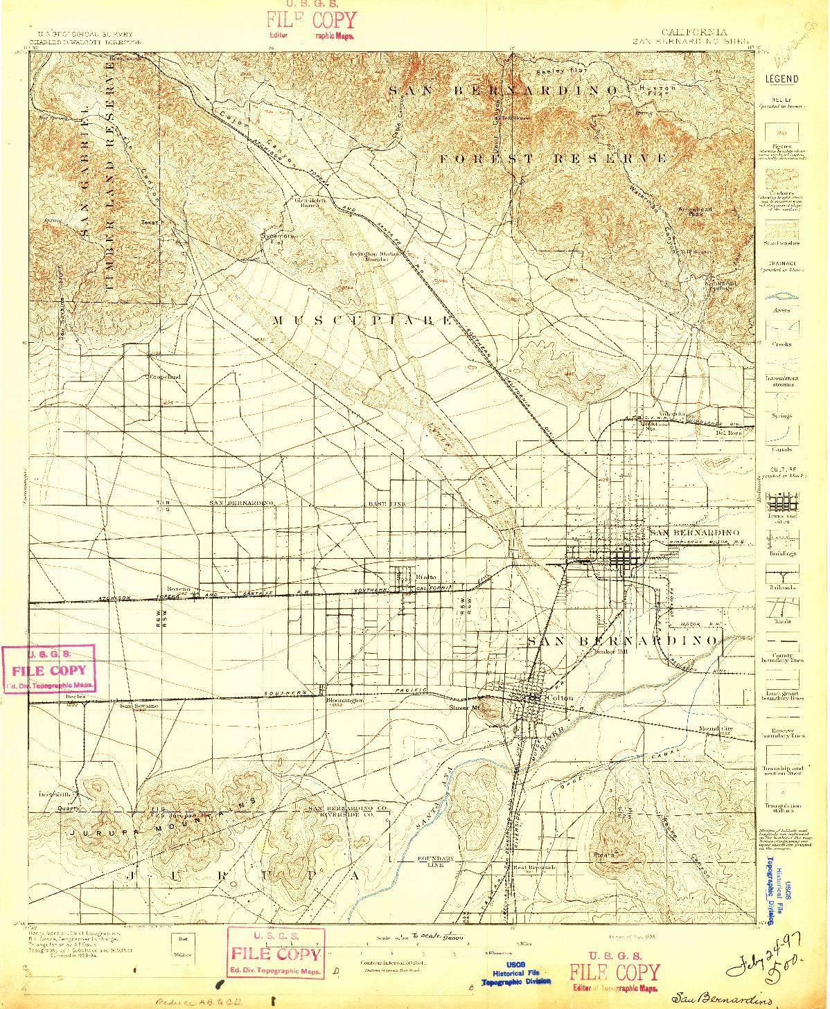 USGS 1:62500-SCALE QUADRANGLE FOR SAN BERNARDINO, CA 1896