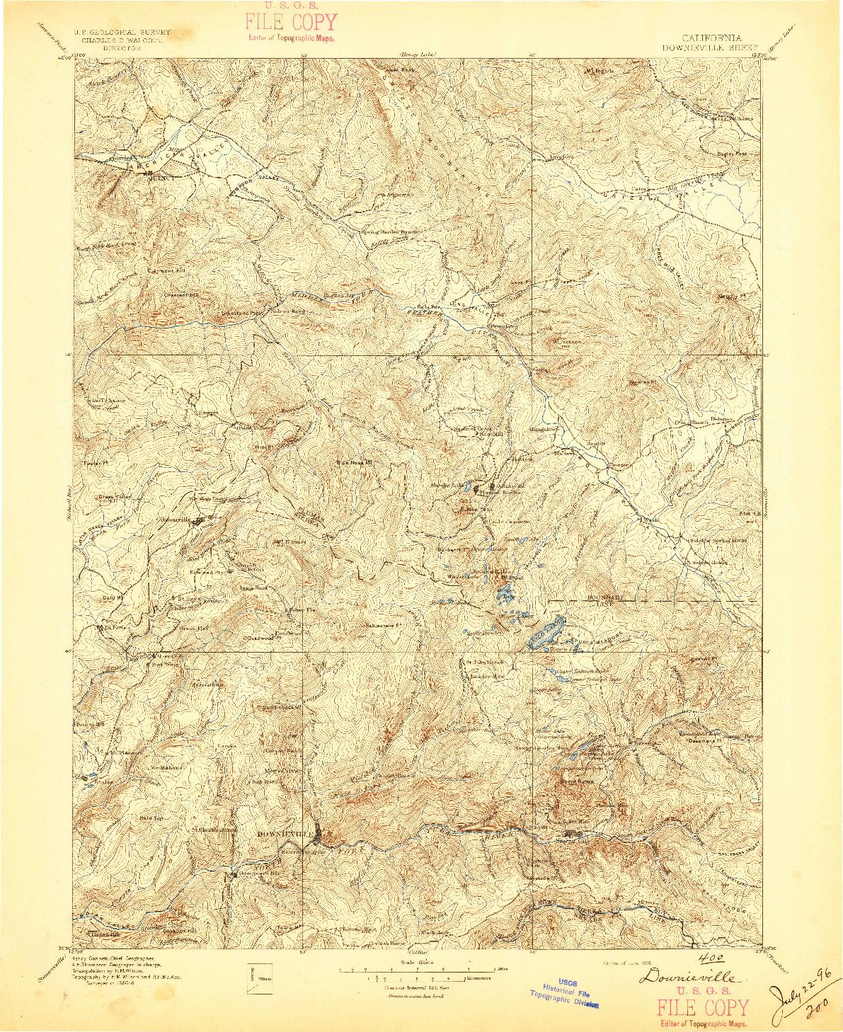 USGS 1:125000-SCALE QUADRANGLE FOR DOWNIEVILLE, CA 1896