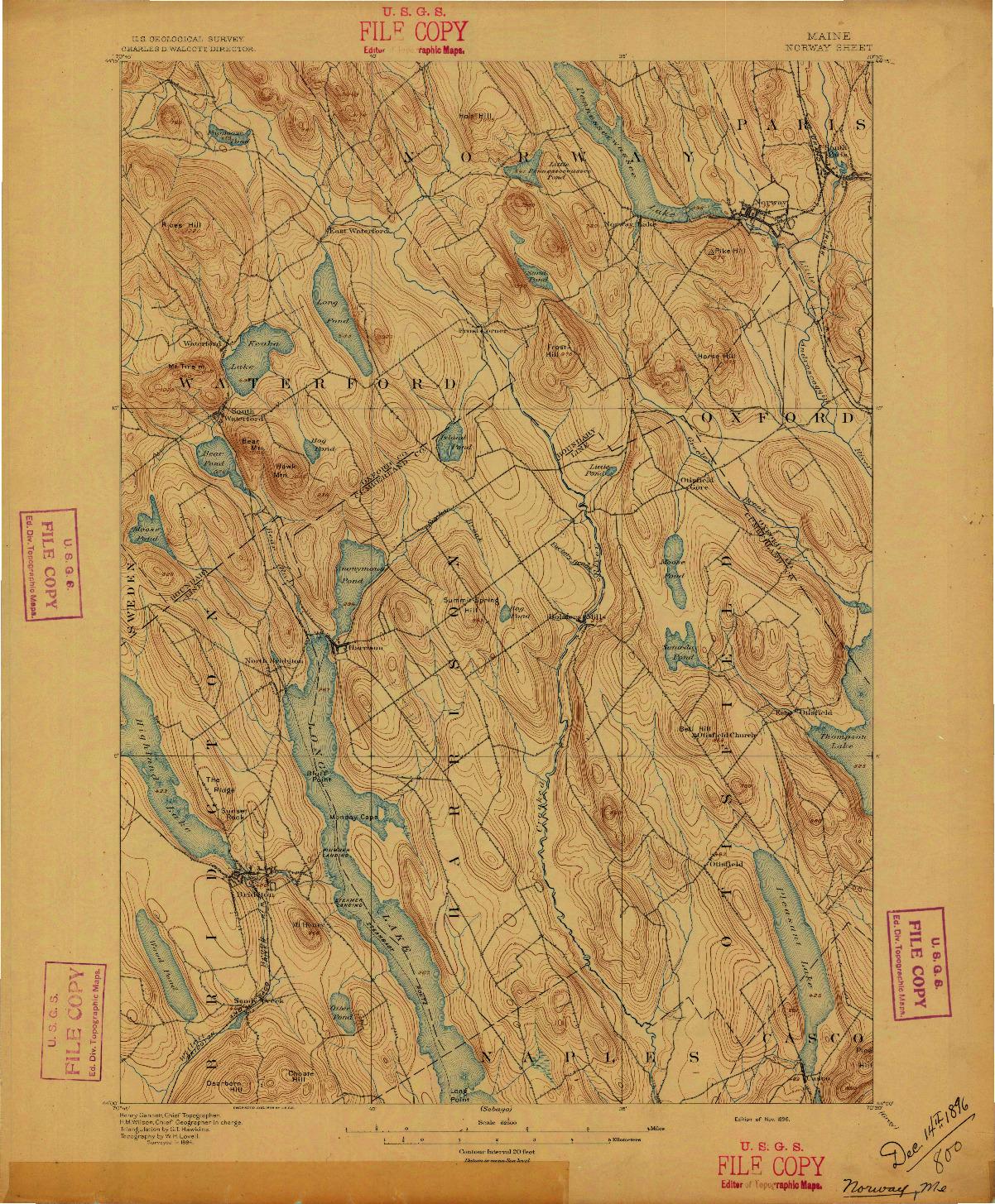 USGS 1:62500-SCALE QUADRANGLE FOR NORWAY, ME 1896