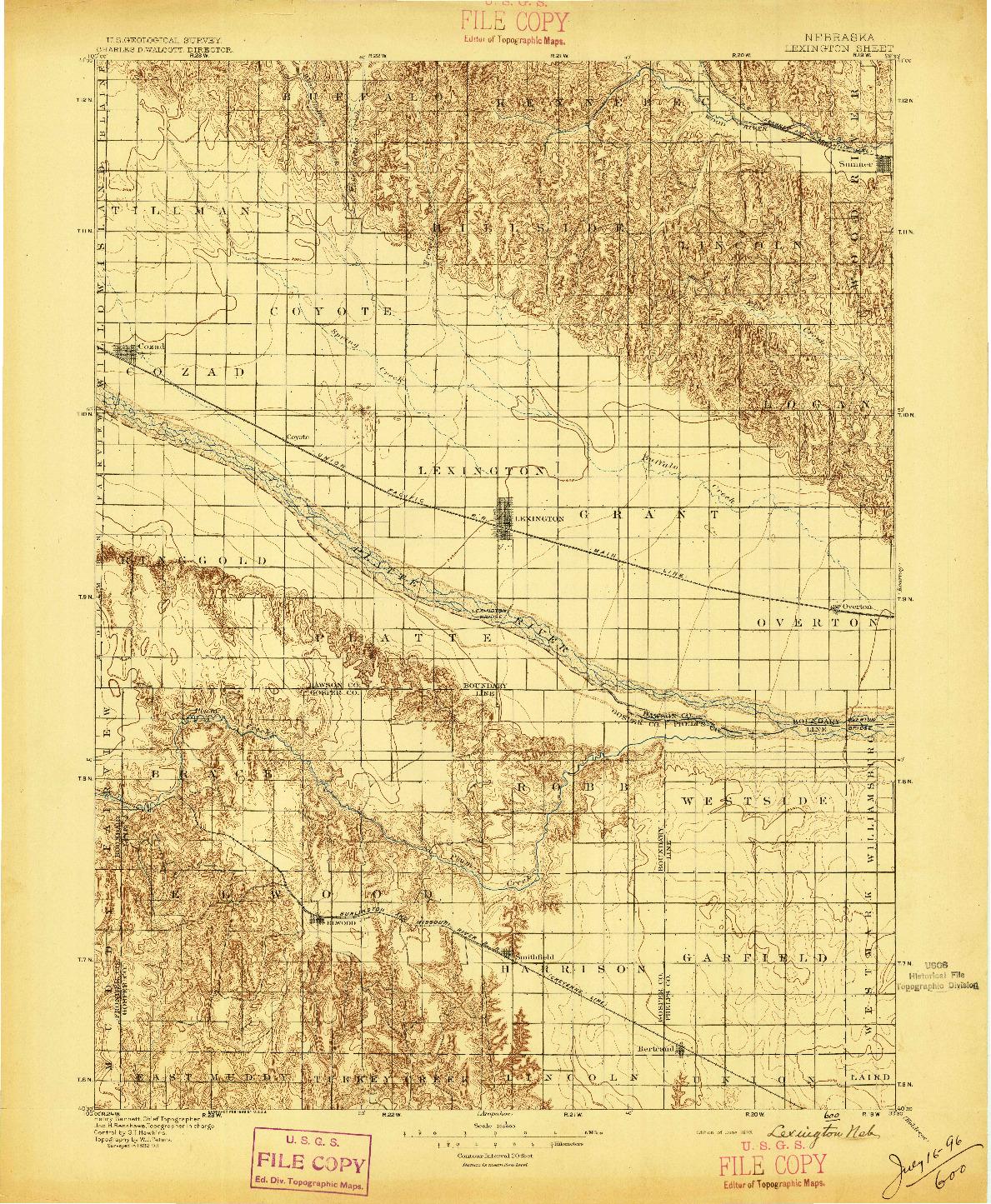USGS 1:125000-SCALE QUADRANGLE FOR LEXINGTON, NE 1896