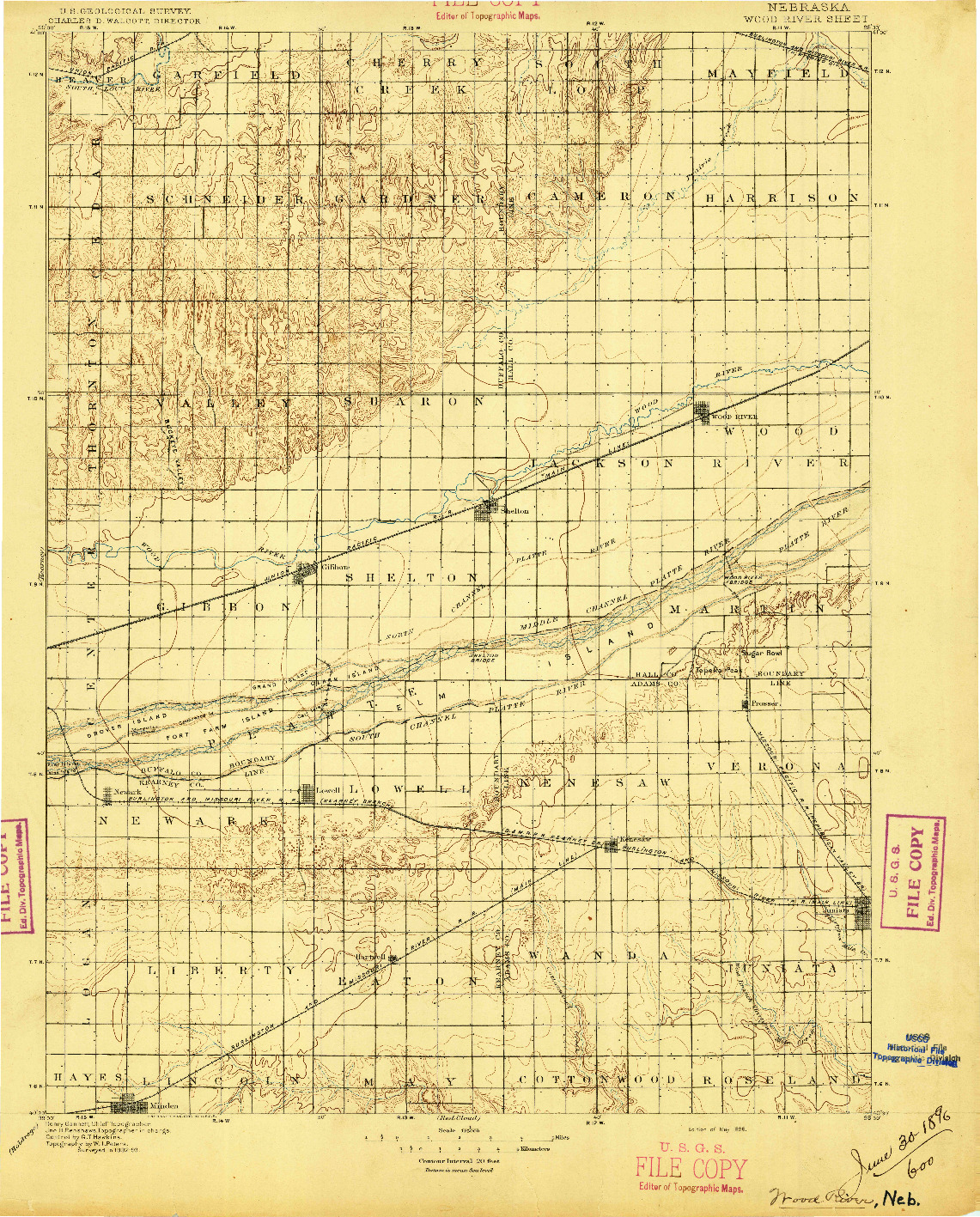 USGS 1:125000-SCALE QUADRANGLE FOR WOOD RIVER, NE 1896