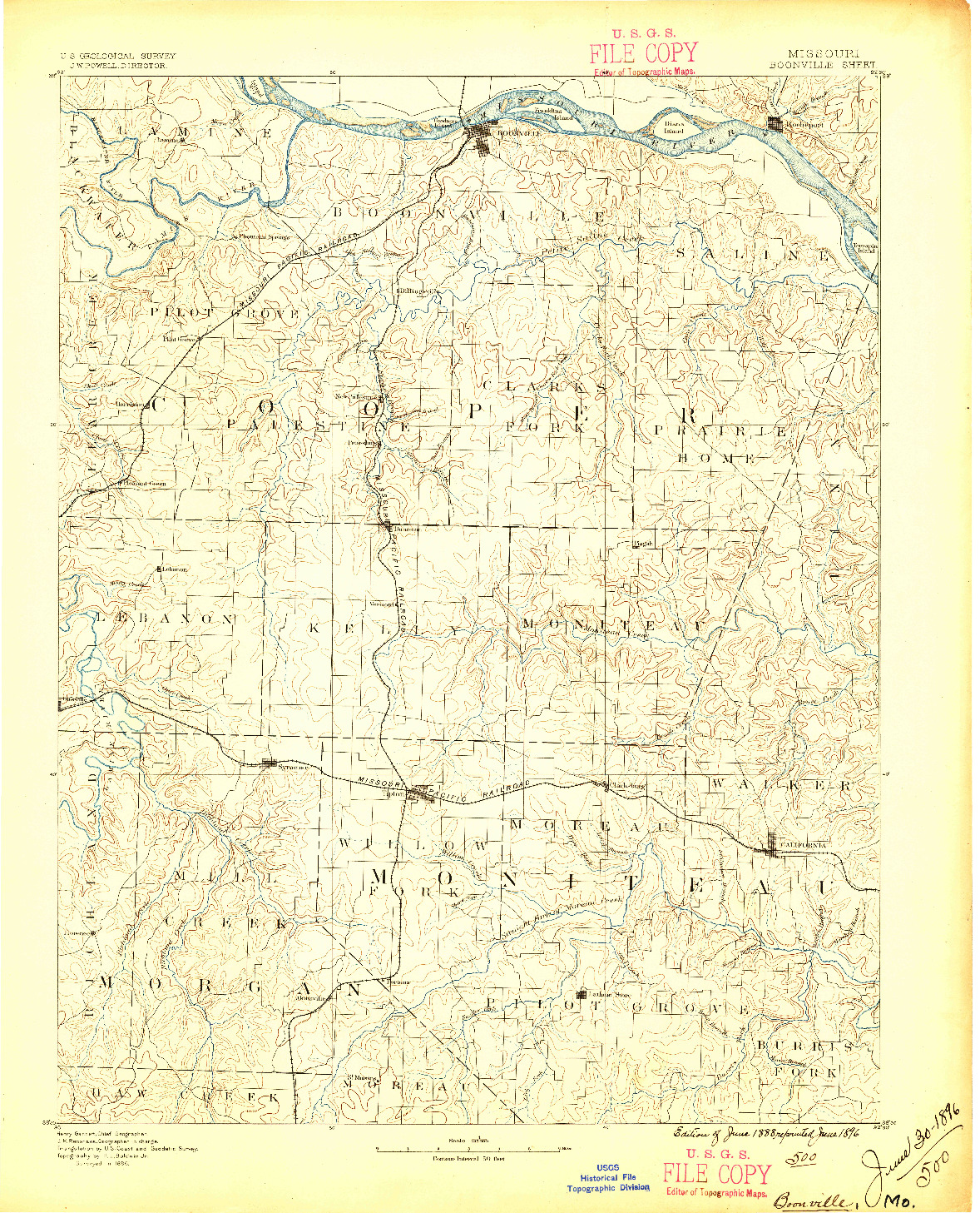 USGS 1:125000-SCALE QUADRANGLE FOR BOONVILLE, MO 1888