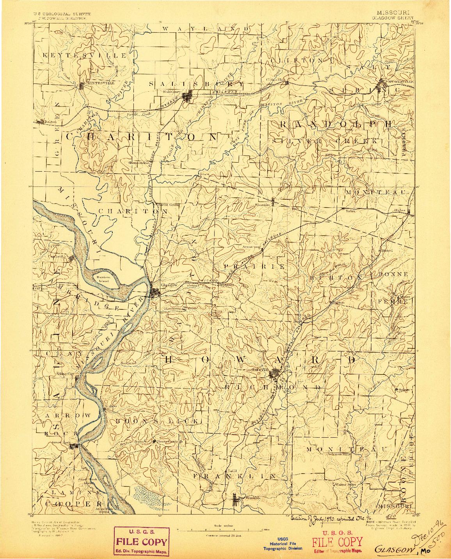 USGS 1:125000-SCALE QUADRANGLE FOR GLASGOW, MO 1890