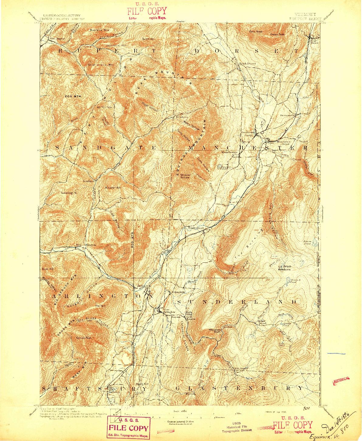 USGS 1:62500-SCALE QUADRANGLE FOR EQUINOX, VT 1896