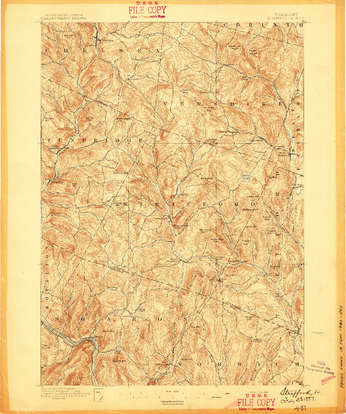 USGS 1:62500-SCALE QUADRANGLE FOR STRAFFORD, VT 1896