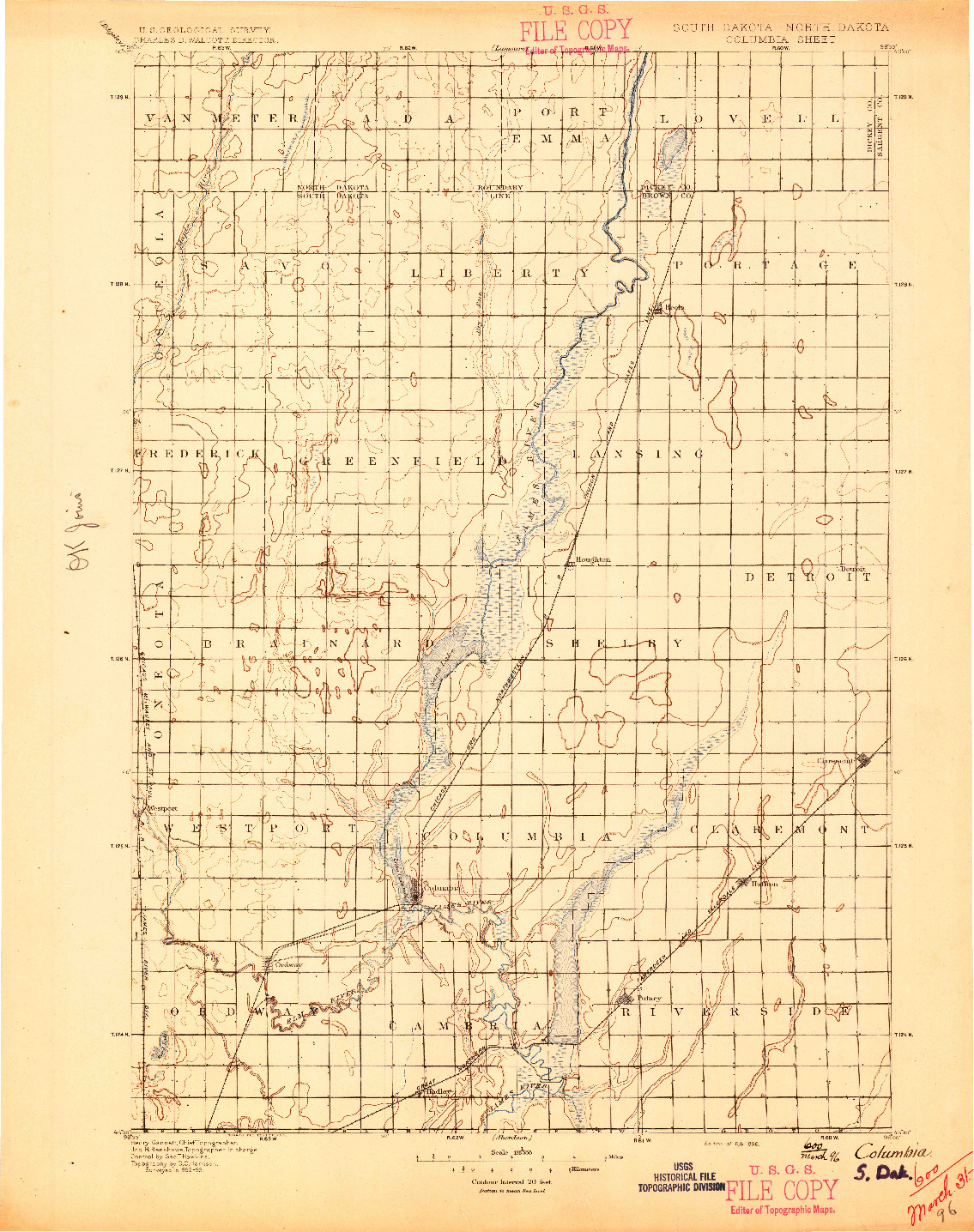 USGS 1:125000-SCALE QUADRANGLE FOR COLUMBIA, SD 1896