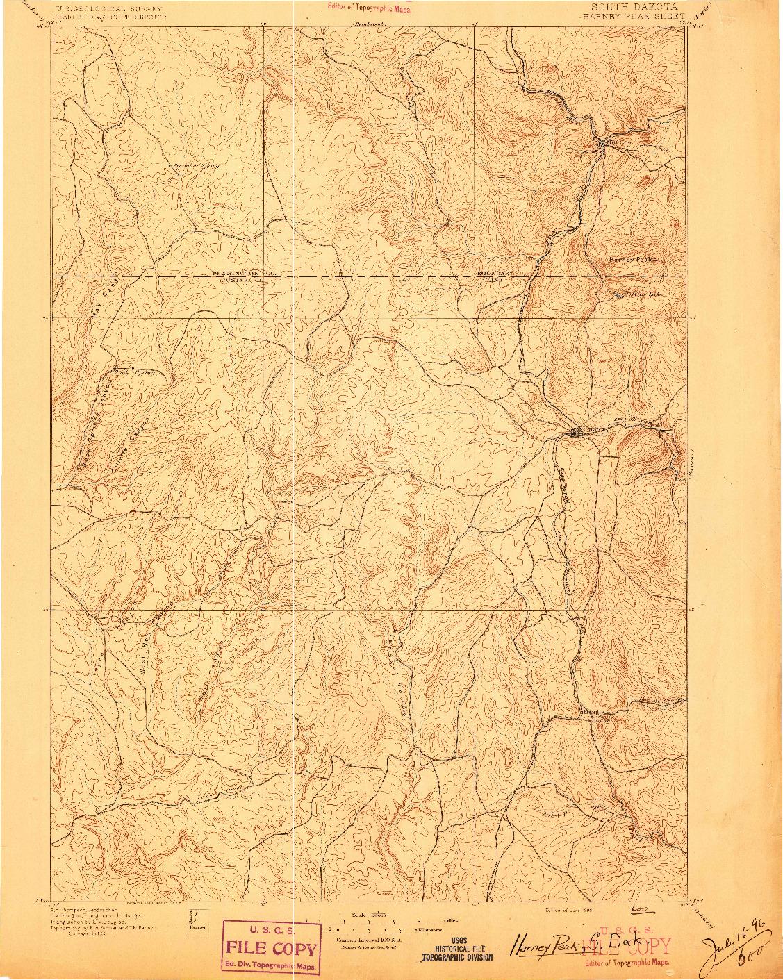 USGS 1:125000-SCALE QUADRANGLE FOR HARNEY PEAK, SD 1896