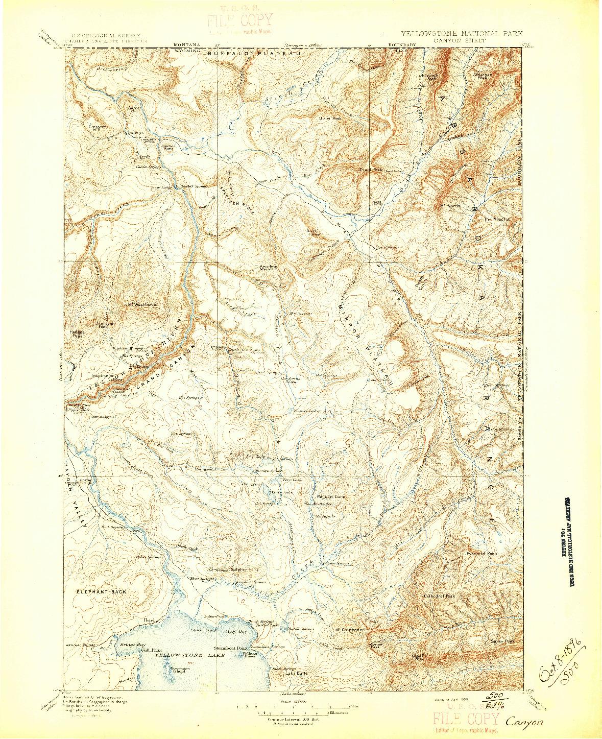 USGS 1:125000-SCALE QUADRANGLE FOR CANYON, WY 1896