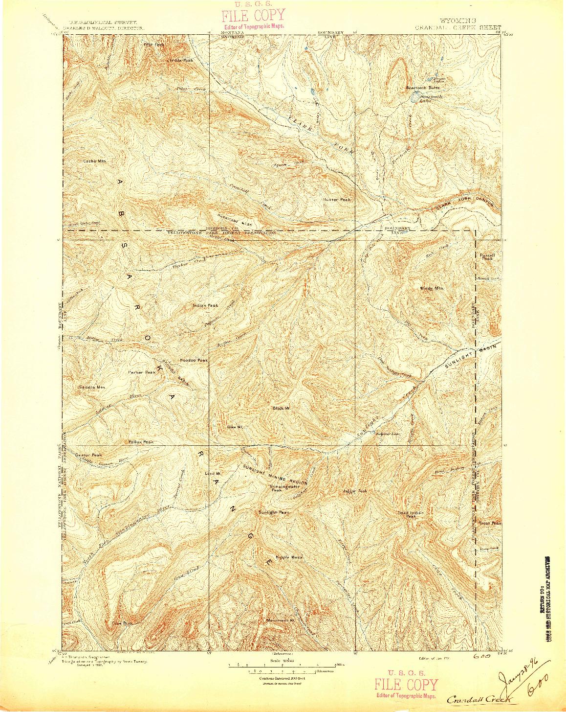 USGS 1:125000-SCALE QUADRANGLE FOR CRANDALL CREEK, WY 1896