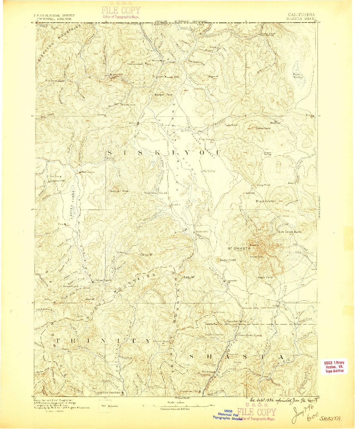 USGS 1:250000-SCALE QUADRANGLE FOR SHASTA, CA 1886
