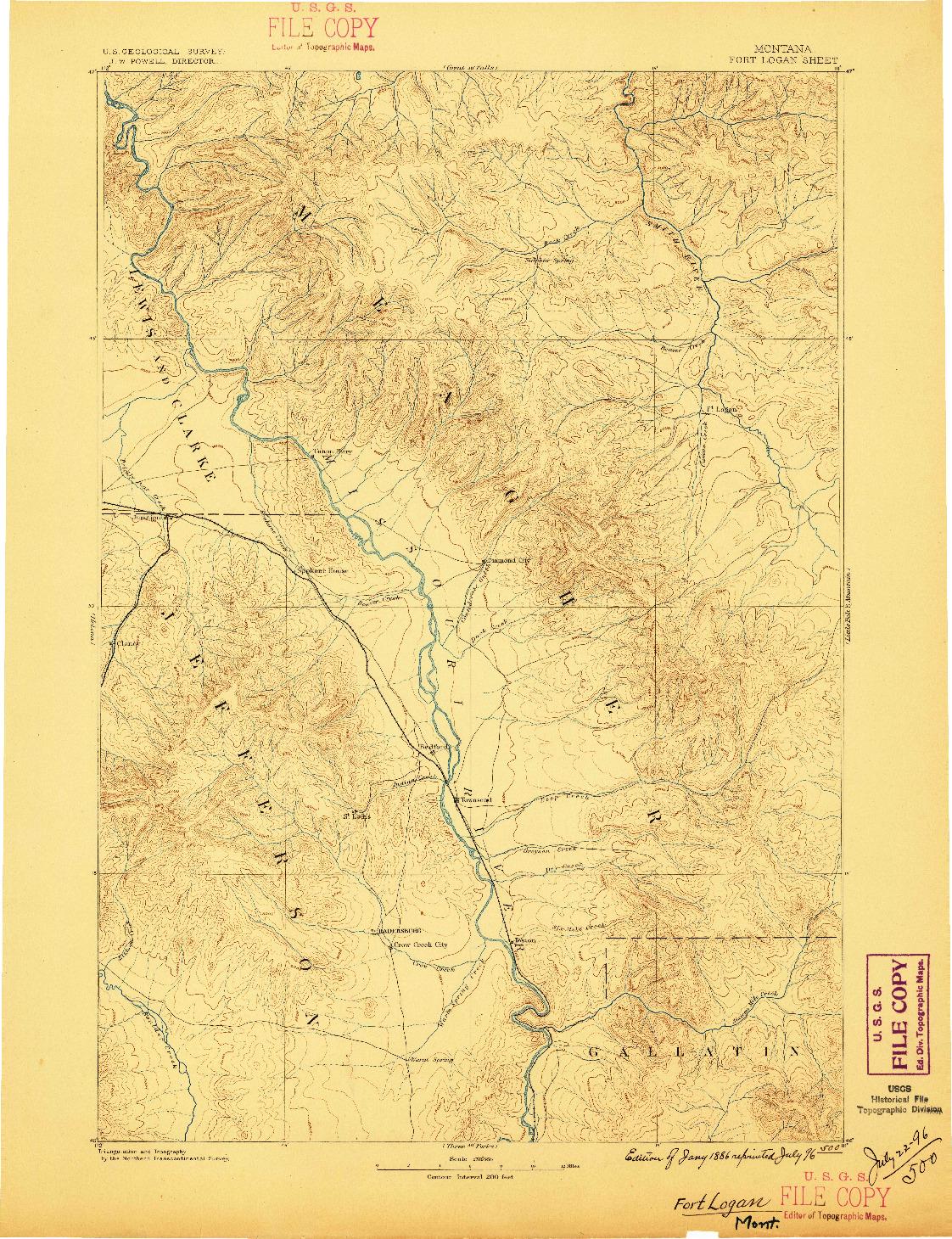 USGS 1:250000-SCALE QUADRANGLE FOR FORT LOGAN, MT 1886