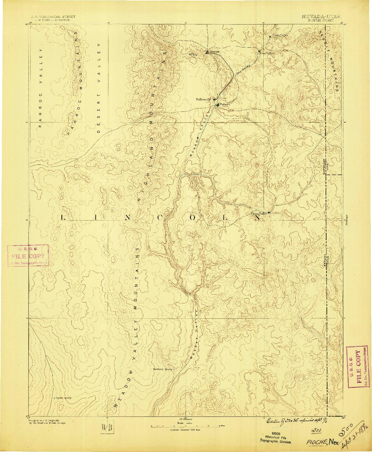 USGS 1:250000-SCALE QUADRANGLE FOR PIOCHE, NV 1886